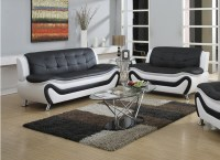 Frady 2 pc Black and White Faux Leather Moder Living Room ...