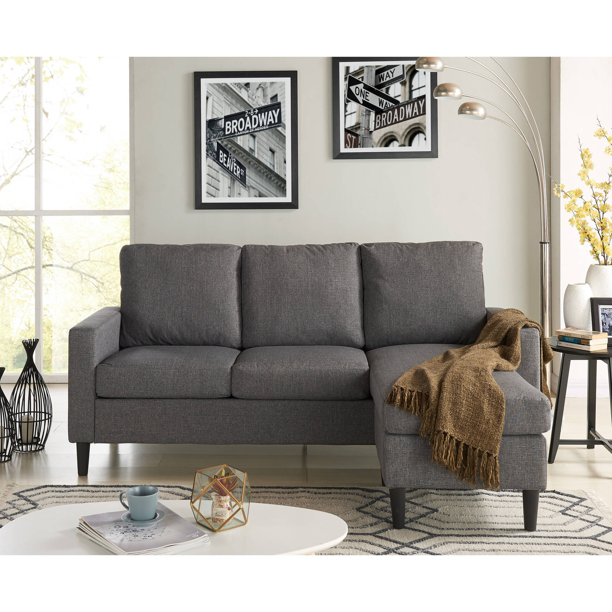 Apartment Sectional Mainstays Apartment Reversible Sectional Multiple Colors