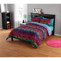 your zone rainbow zebra comforter set - Walmart.com