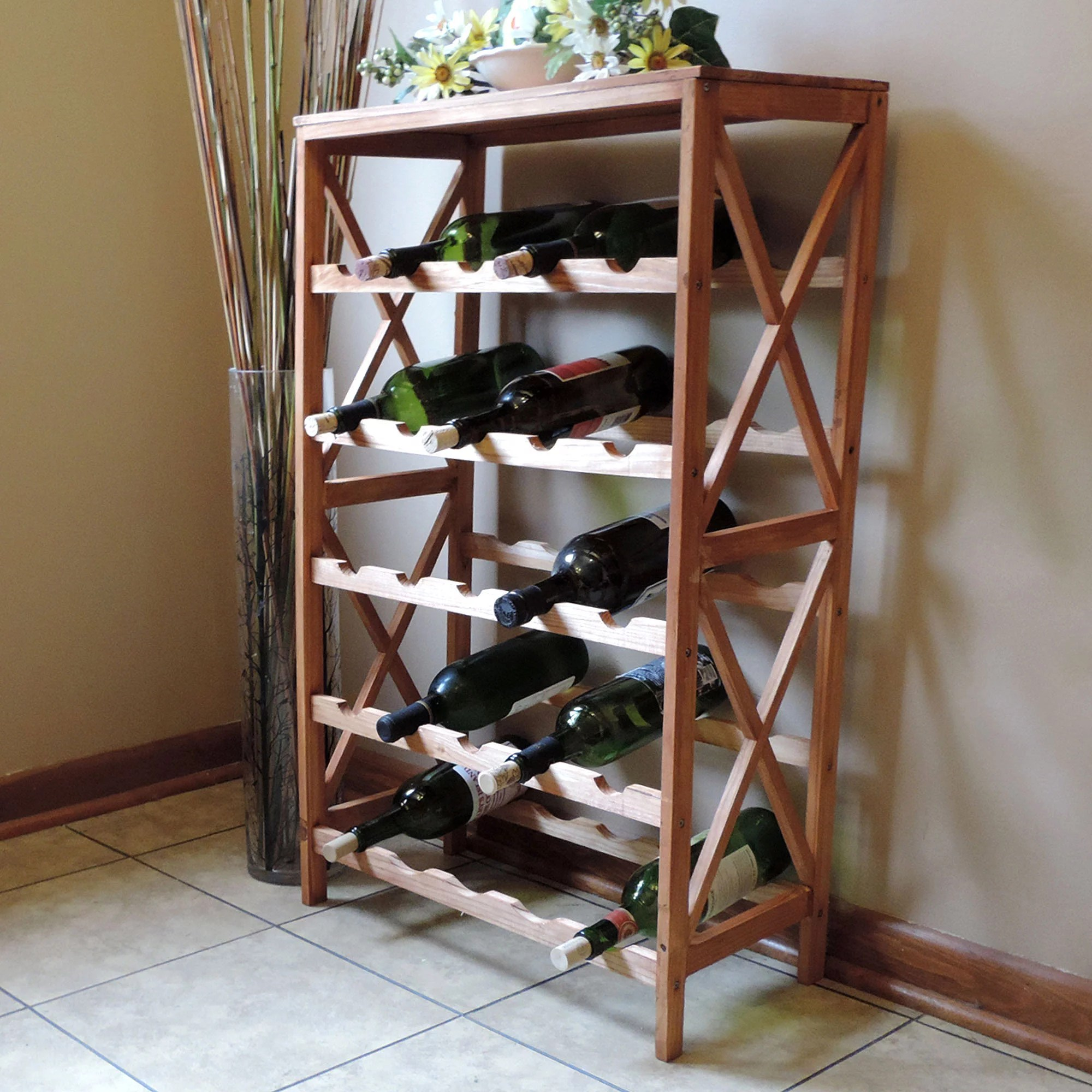 Pretty Wine Racks Rustic Wine Rack Space Saving Free Standing Wine Bottle Holder For Kitchen Bar Dining Or Living Rooms Classic Storage Shelf By Lavish Home