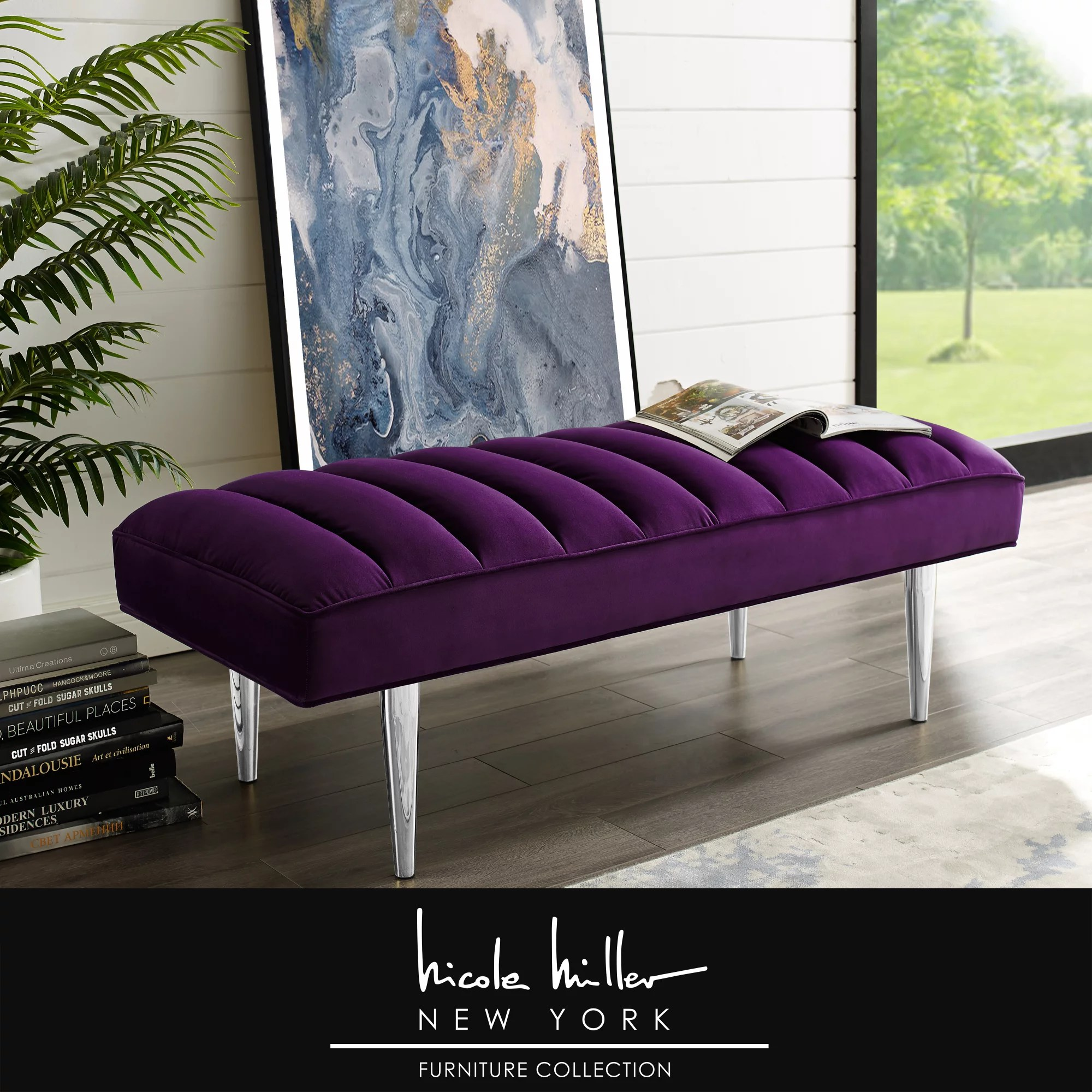 Nicole Miller Tadeo Velvet Bench Upholstered Channel Tufted Tapered Mirrorred Lacquer Finish Stainless Steel Leg Purple Chrome Walmart Canada