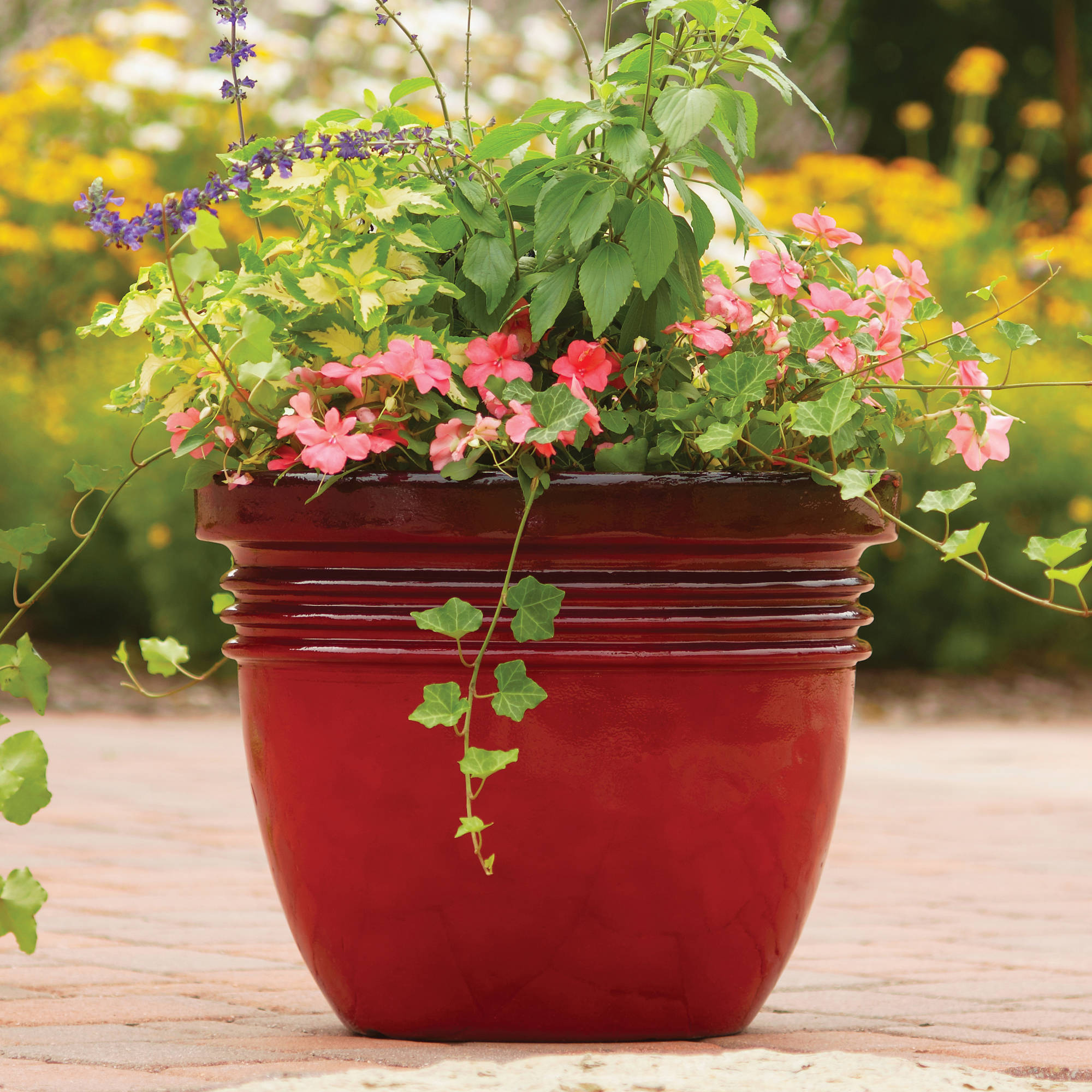 Unique Outdoor Flower Pots Better Homes And Gardens Bombay Decorative Outdoor Planter Red Sedona 16