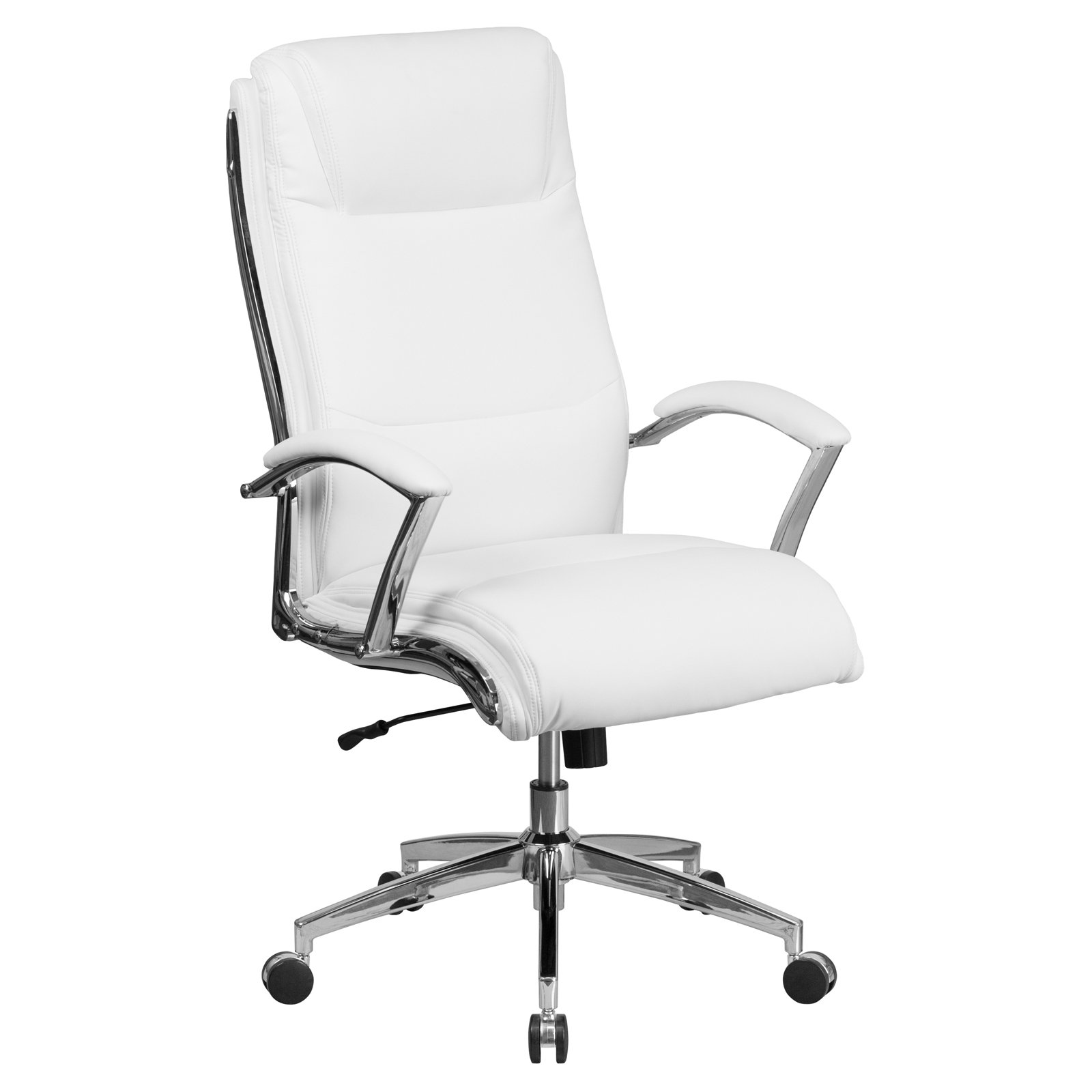 Designer High Chair Flash Furniture High Back Designer White Leather Executive Swivel Office Chair With Padded Arms And Chrome Base