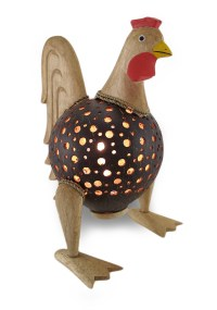 Recycled Coconut Shell Wooden Rooster Night Light Accent ...