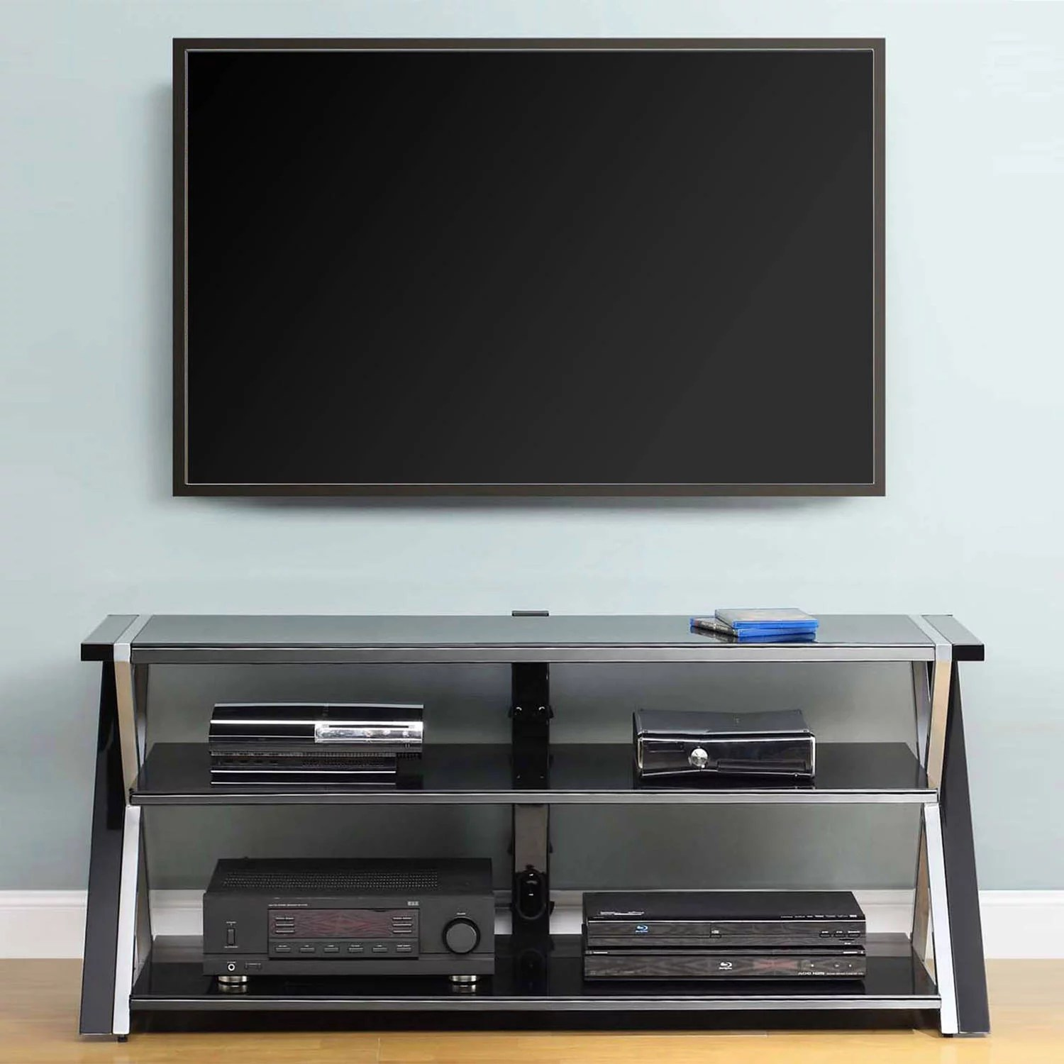 Tv 65 Inch Black Glass Tv Stand 65 Inch Flat Screen Entertainment