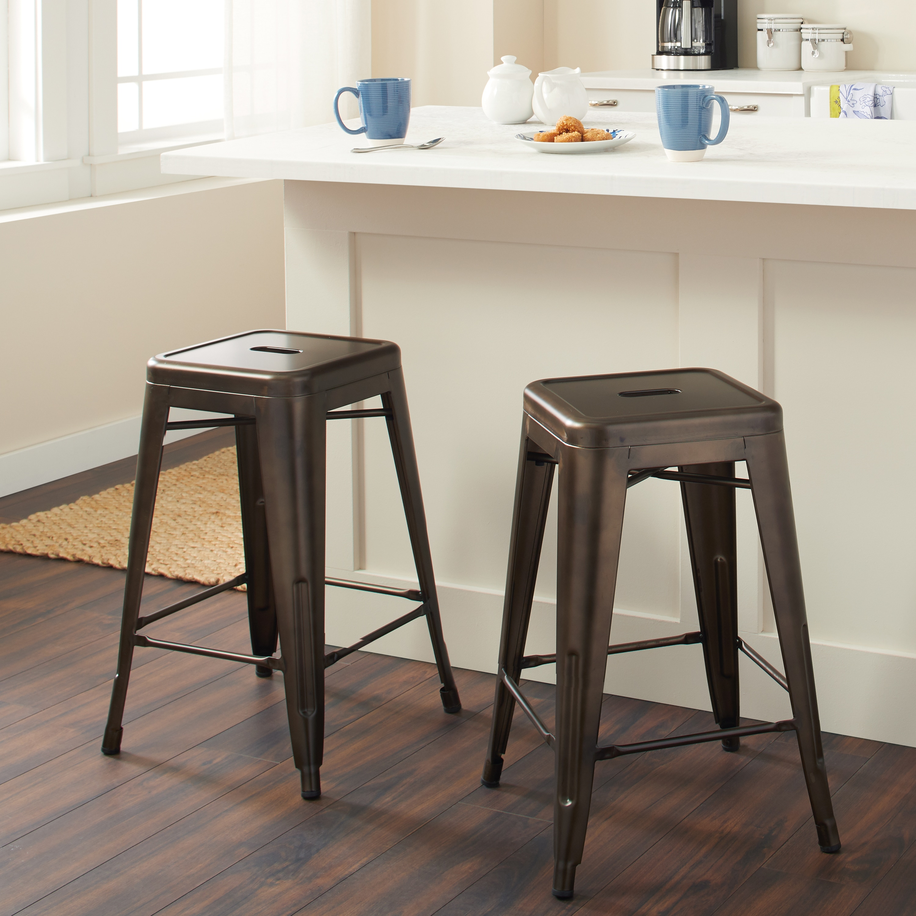 Tabourets Walmart Tabouret 24 Inch Vintage Patina Backless Counter Stool Set Of 2