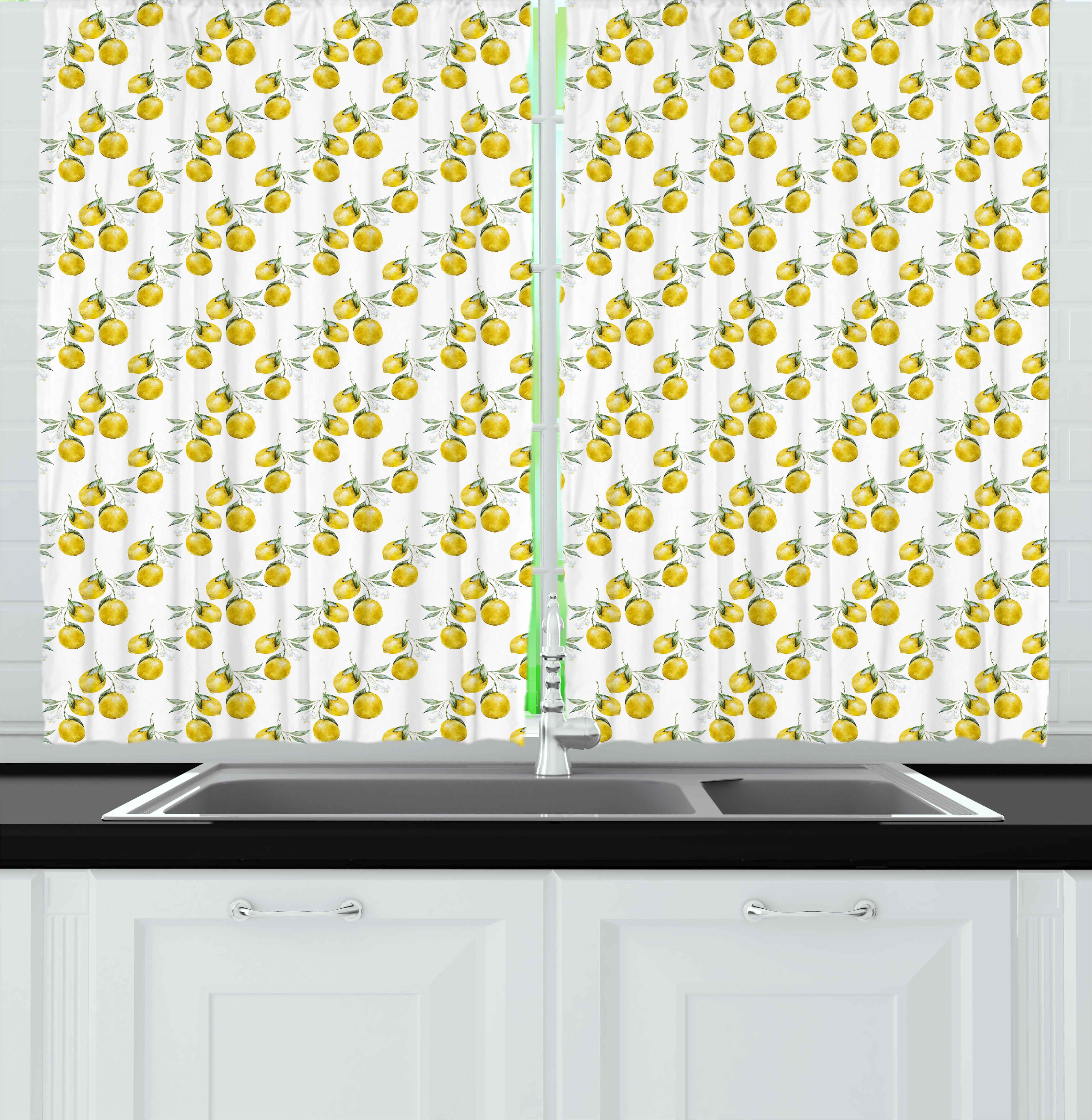Lemon Green Curtains Nature Curtains 2 Panels Set Lemon Tree Branches Agriculture Kitchen Lemonade Citrus Figure Graphic Art Window Drapes For Living Room Bedroom 55w X