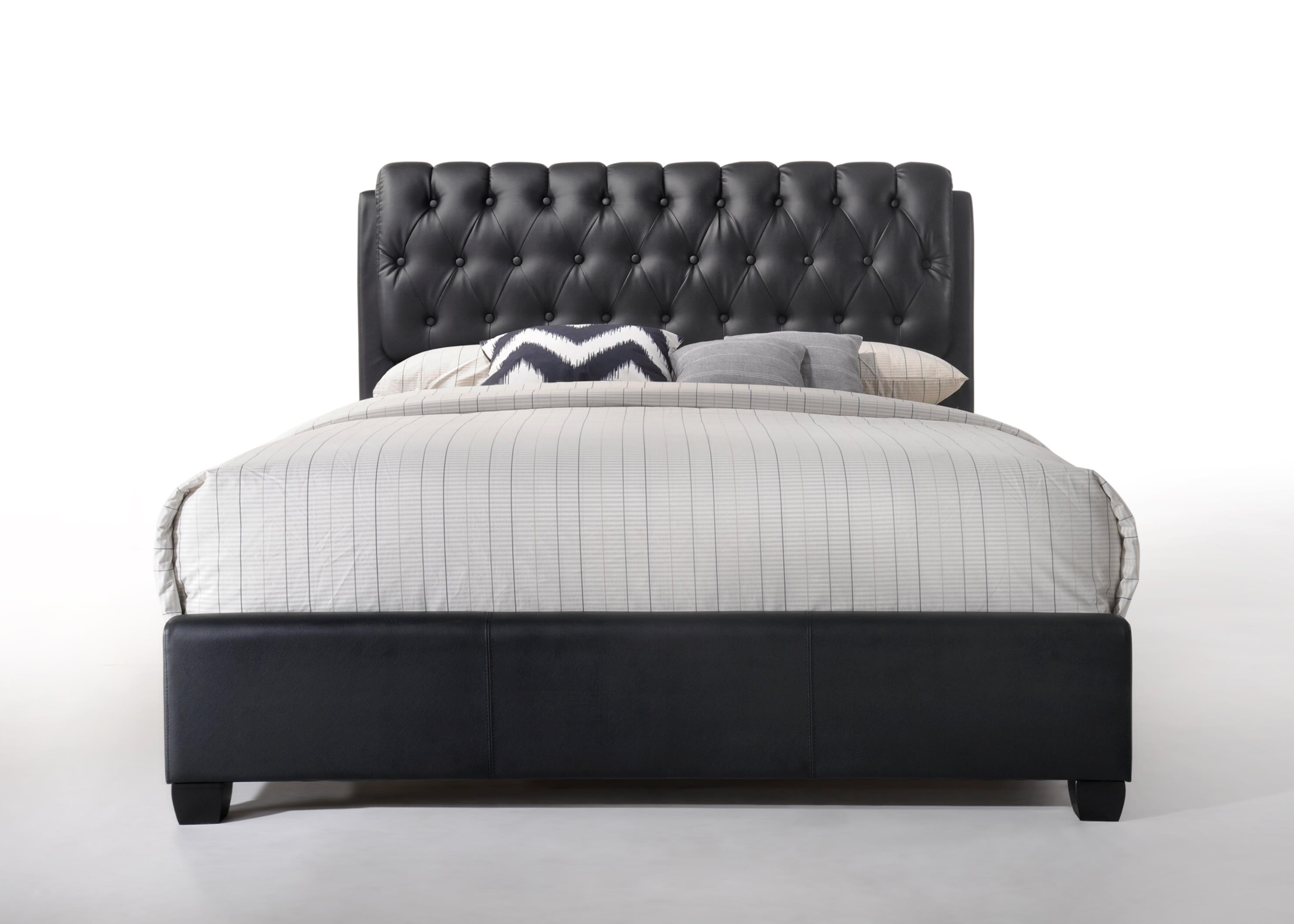 Leather Bed Acme Furniture Ireland Queen Faux Leather Bed With Tufted Headboard Black