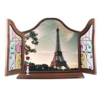 Home Art Wall Decor 3D Effect False Window Eiffel Tower