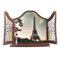 Home Art Wall Decor 3D Effect False Window Eiffel Tower ...