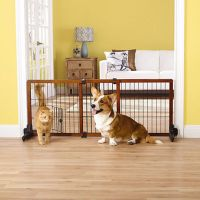 Top Paw Free Standing Adjustable Wooden Pet Gate w Small ...