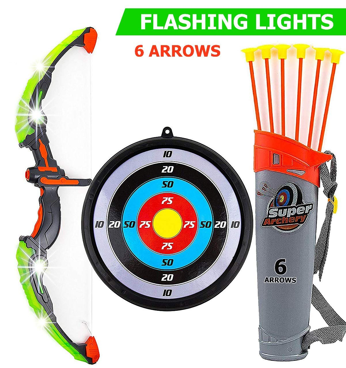 Toysery Bow And Arrow For Kids With Led Flash Lights Archery Bow With 6 Suction Cups Arrows Target And Quiver Practice Outdoor Toys For Children Above 3 12 Years Old Walmart Com Walmart Com