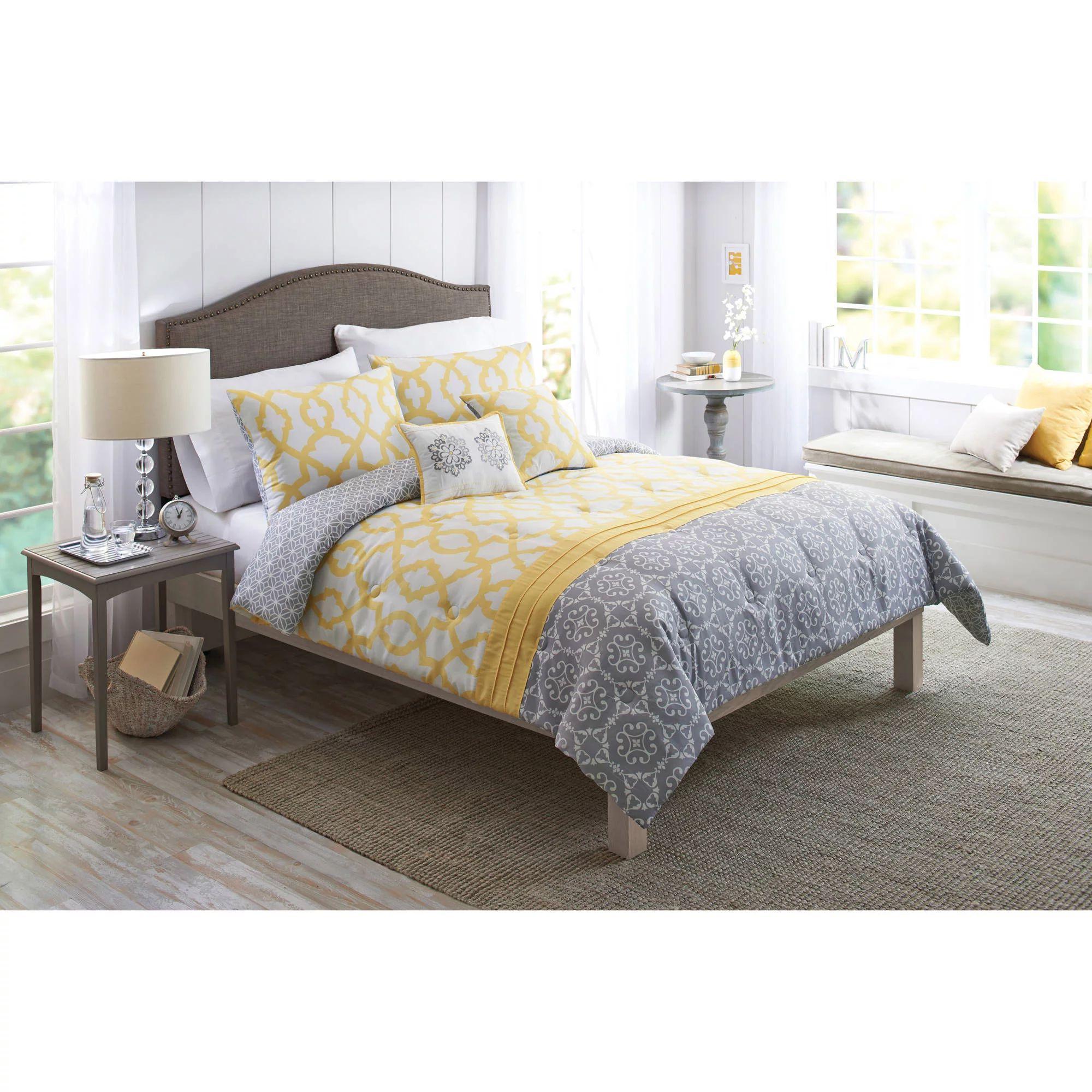 Better homes and gardens yellow and gray medallion 5 piece bedding comforter set walmart com