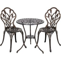 Wrought Iron Patio Set Bistro Table And Chairs 3 Pieces ...