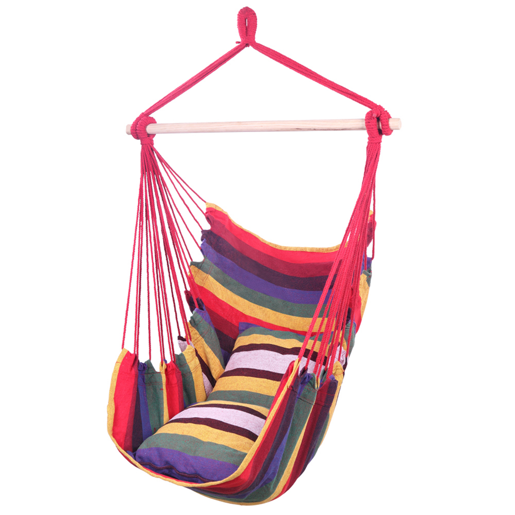 Abc Rainbow City Al Distinctive Cotton Canvas Hanging Rope Chair With Pillows