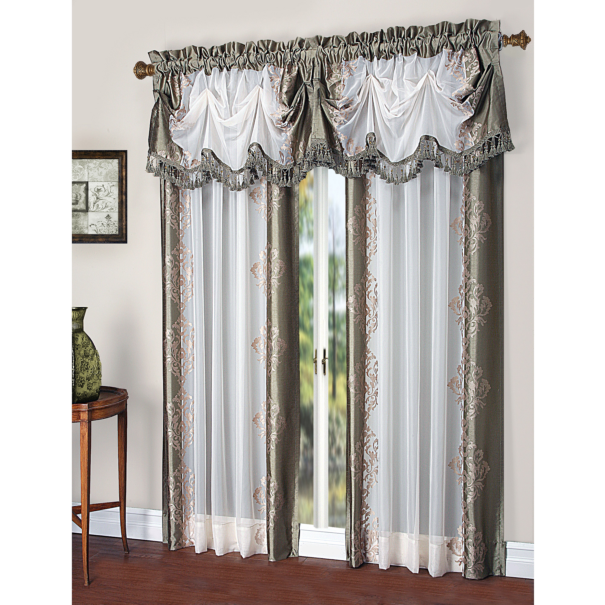 Faux Silk Curtains Danbury Embroidered Pieced Voile Faux Silk Polyester Curtain Panel