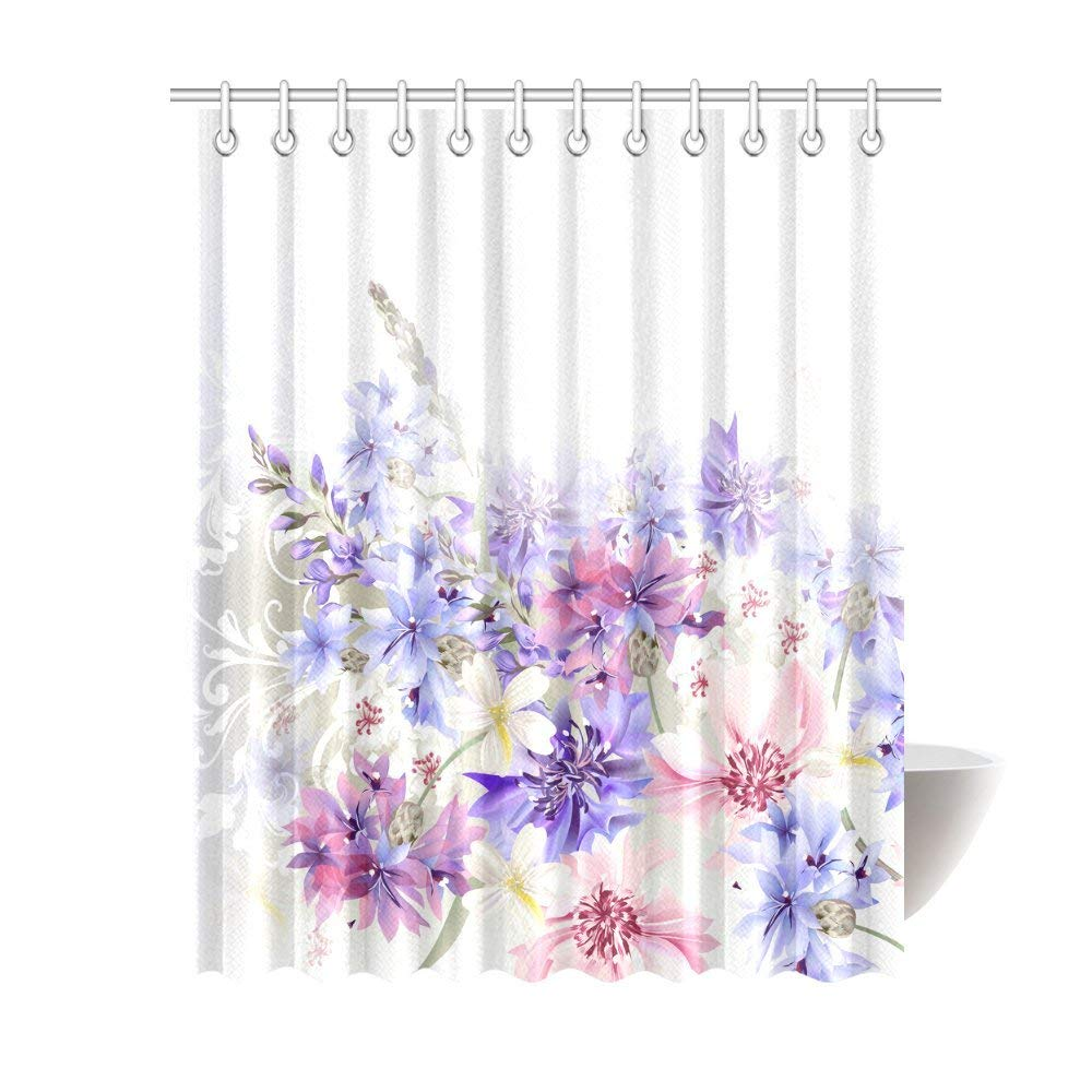 Lavender Shower Curtains Wopop Lavender Shower Curtain Purple Pink Cornflowers Classic Design Gentle Floral Art Wedding Decorations Fabric Bathroom Decor With Hooks 66x72