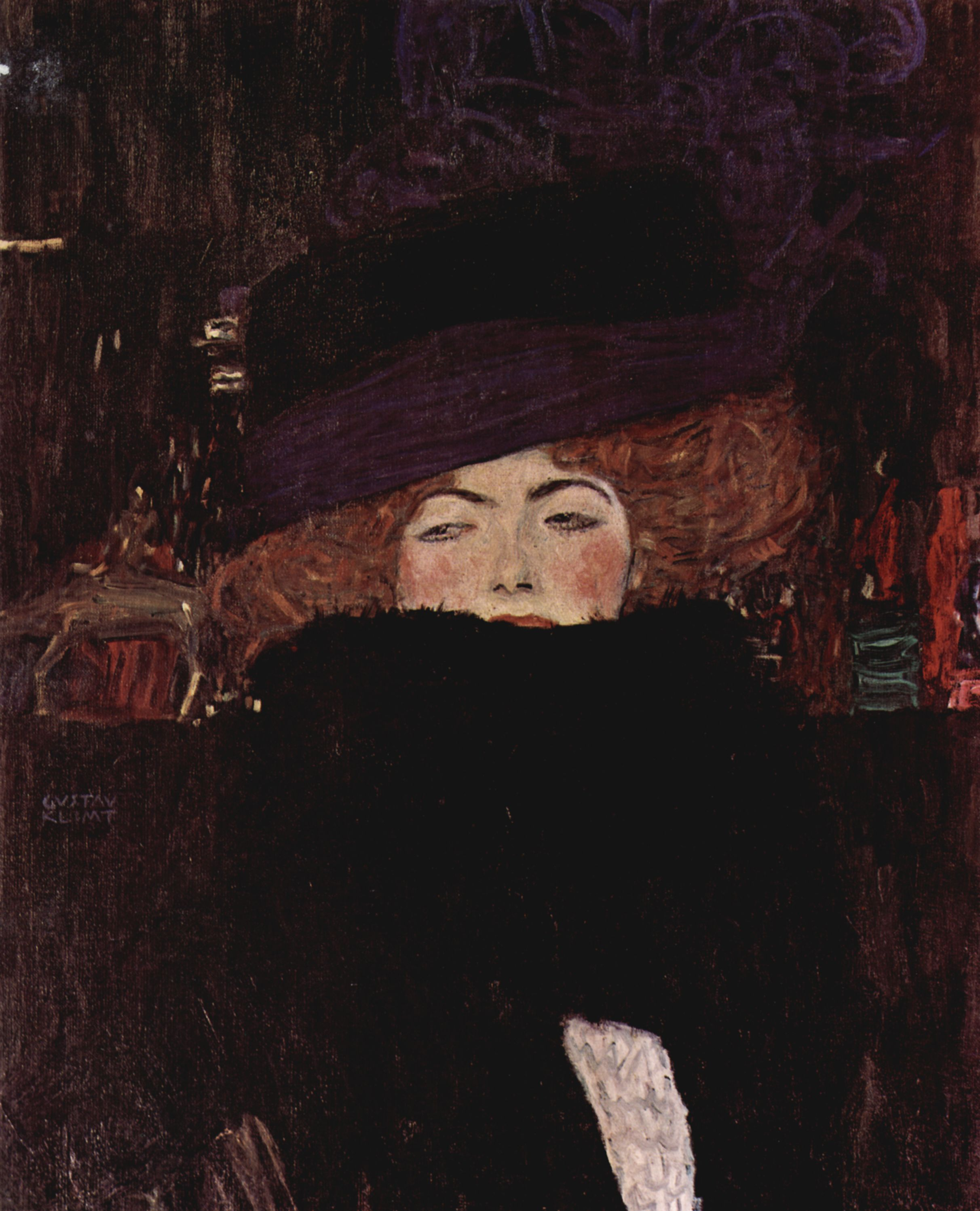 Laminated Poster Klimt Gustav Lady With Hat And Feather Boa Poster Print 20 X 30 Walmart Com Walmart Com