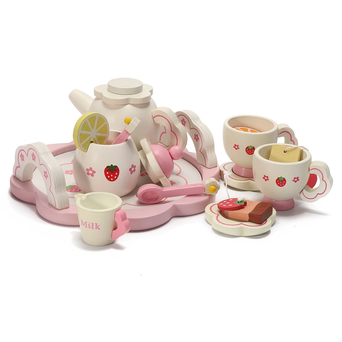 Tea Set Toy Meigar Wooden Kids Tea Set Role Play Kitchen Toys Pretend Cups Teapot Tray Bowl Gifts