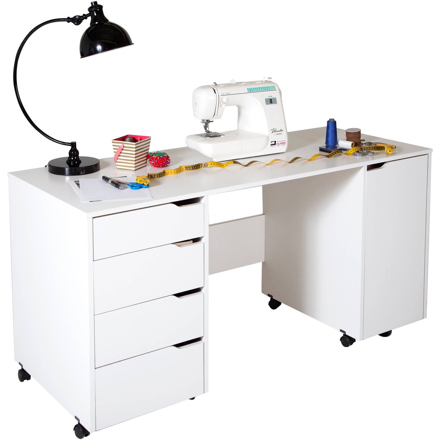 Table On Wheels South Shore Crea Sewing Craft Table On Wheels White