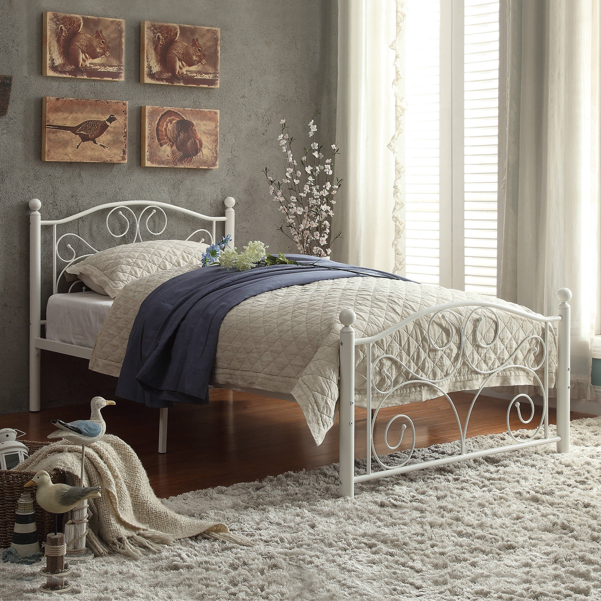 White Platform Bed Without Headboard Chelsea Lane Abigail Metal Platform Bed White Multiple Sizes