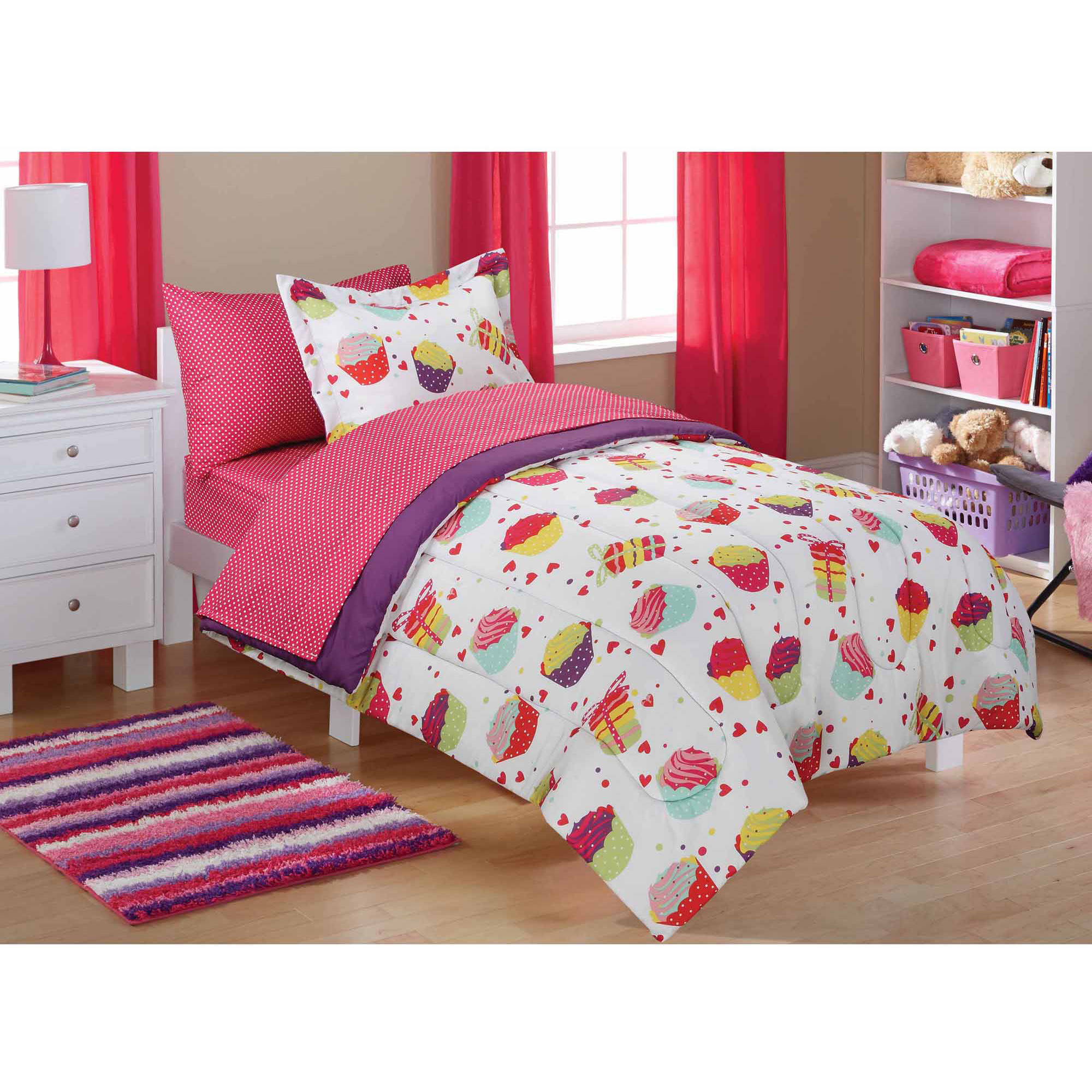 Kids Queen Bed Mainstays Kids Cupcake Coordinated Bed In A Bag