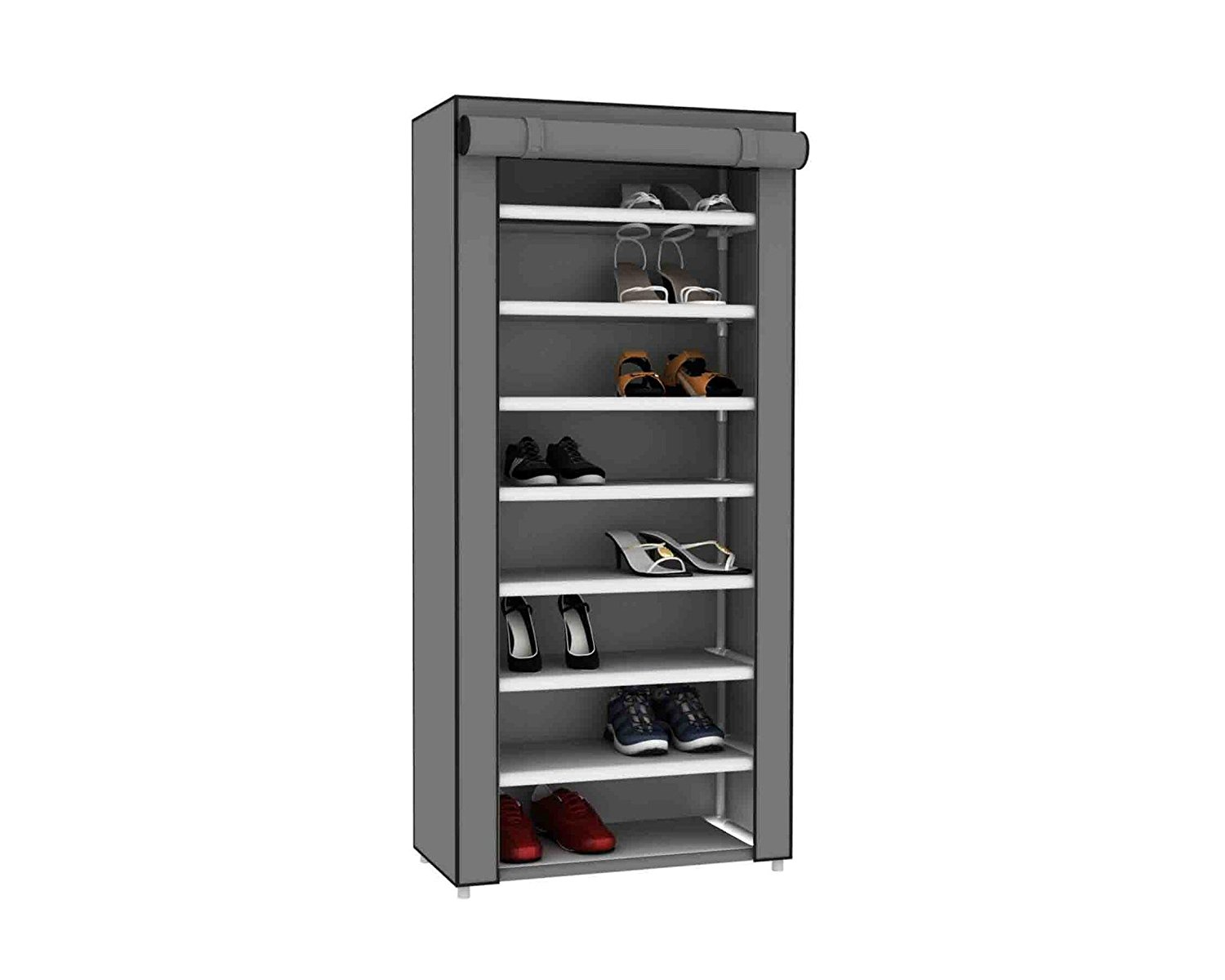 7 Tier 24 Pair Shoe Closet Rack With Dustfree Cover Grey