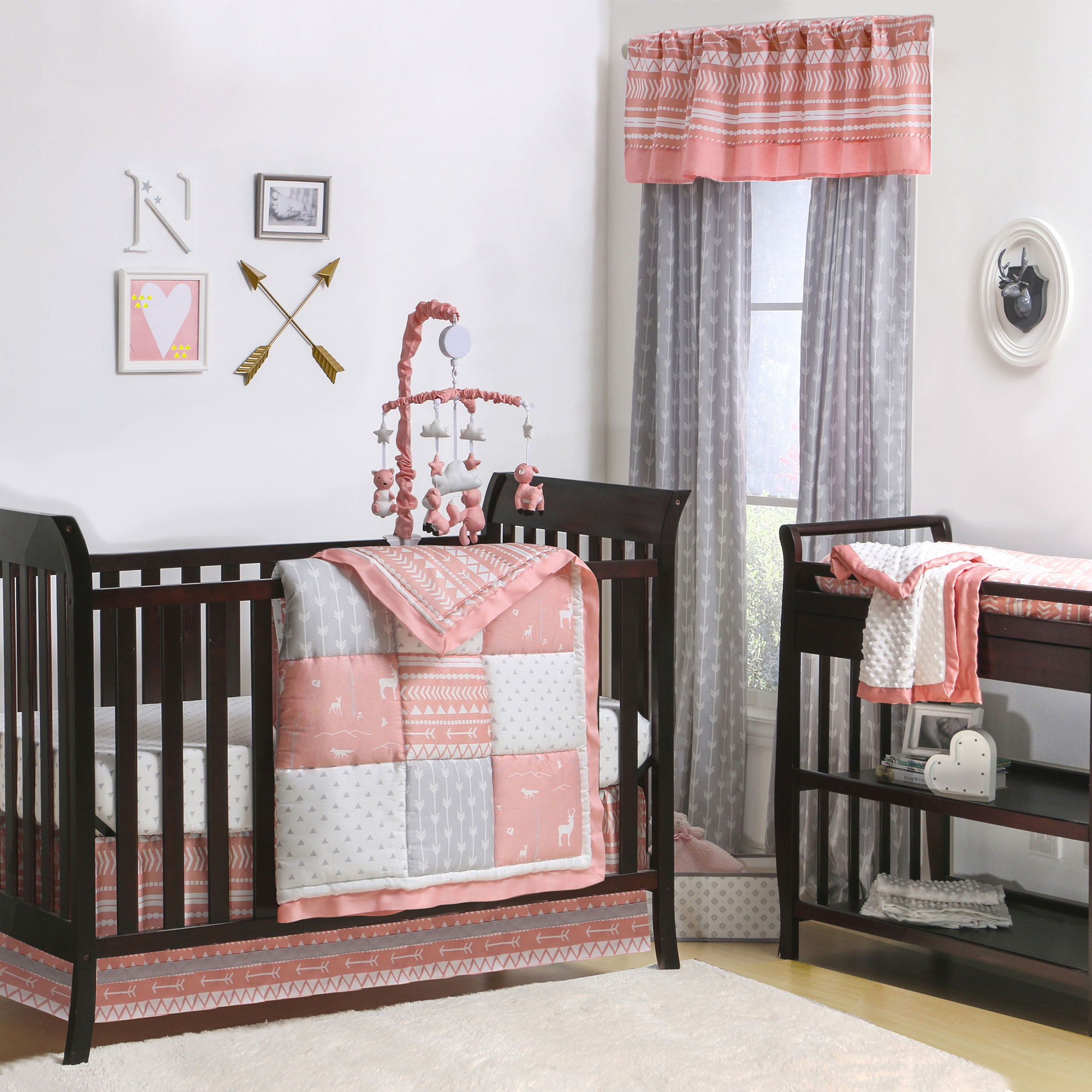 Bad Set For Baby Woodland Pixie Coral And Grey Baby Girl Crib Bedding 11 Piece Sleep Essentials Set