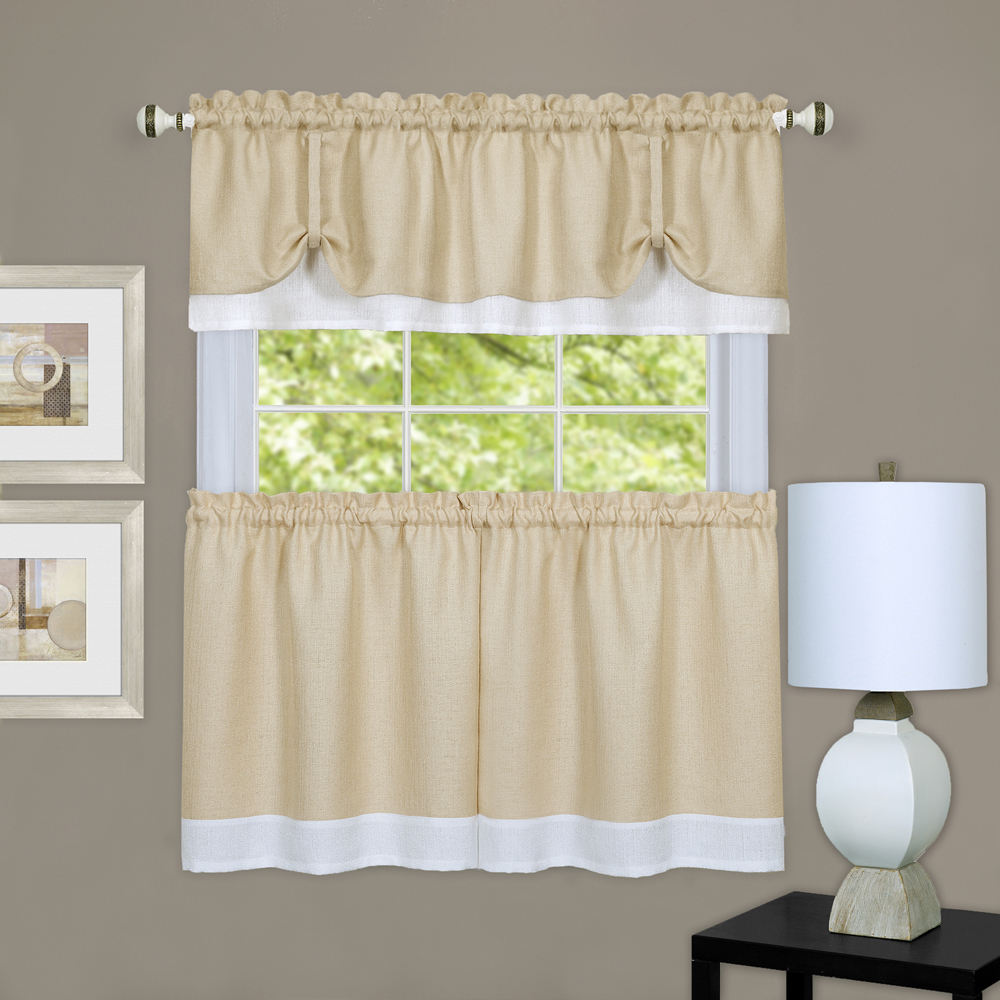 Curtain For Double Window Beige White Solid Window Curtain Double Layer 36
