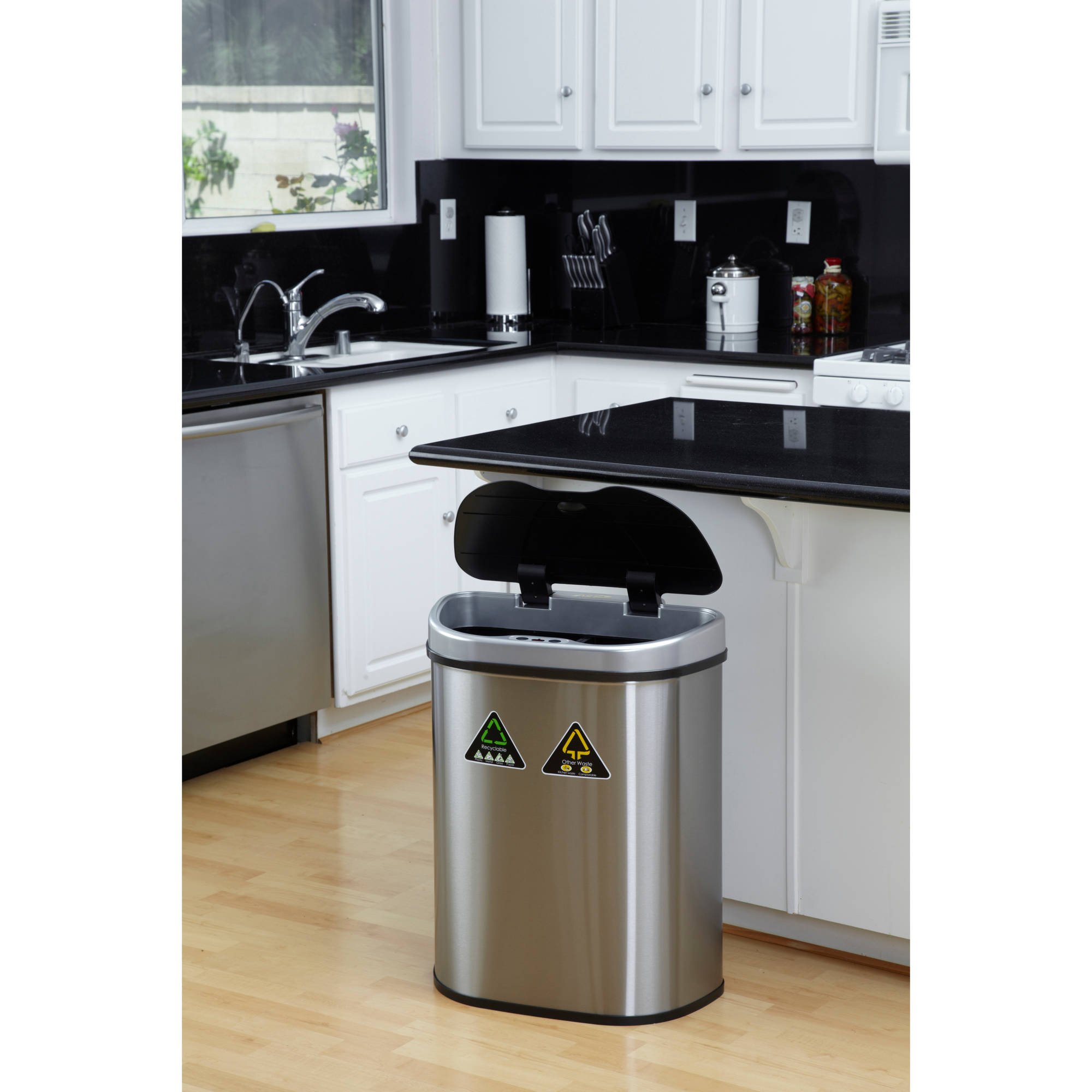 Kitchen Garbage Can With Lid Automatic Open Trash Can Recycle Bin Combo Touchless Lid