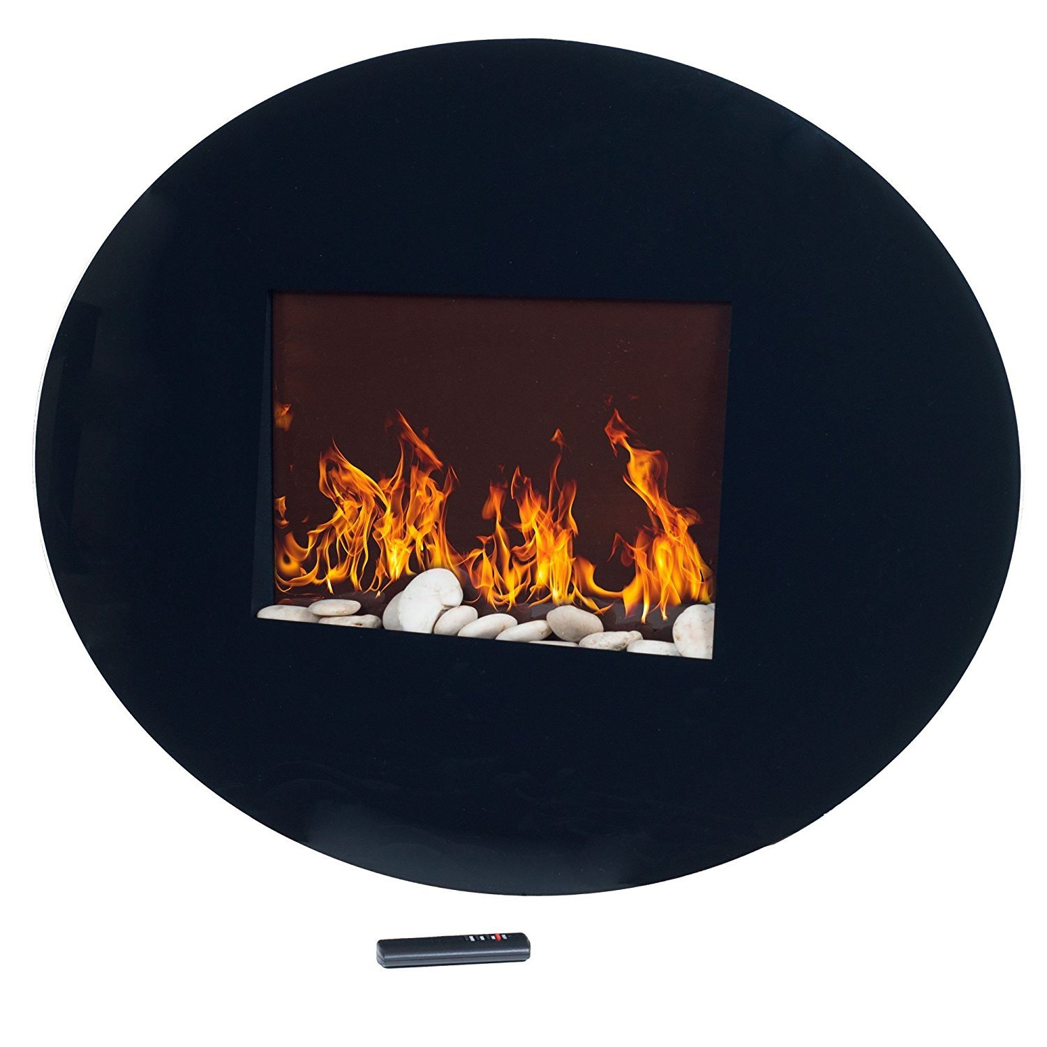 Walmart Black Electric Fireplace Northwest 80 Ef456s Black Oval Glass Electric Fireplace With Wall Mount