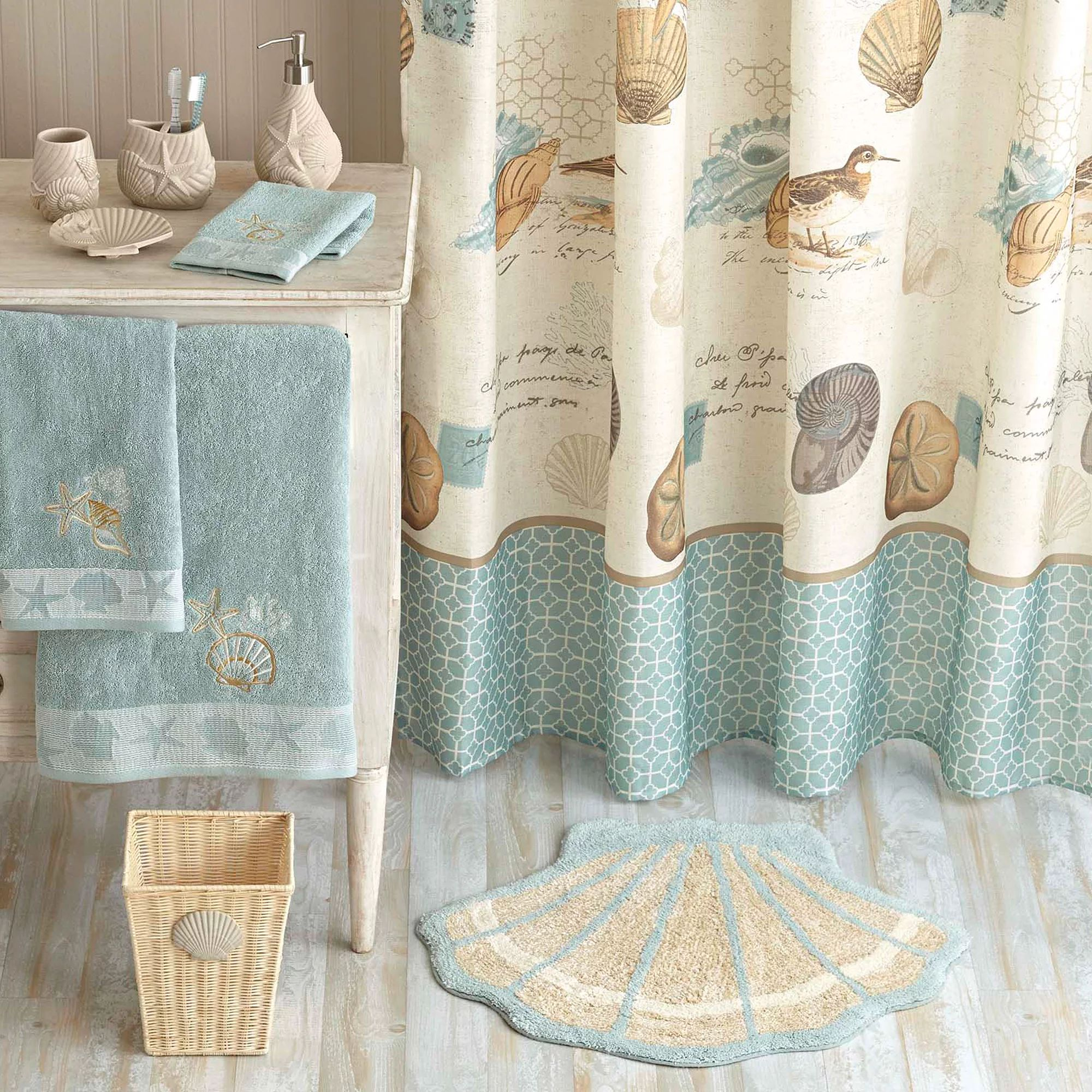 Better homes and gardens coastal collage fabric shower curtain walmart com