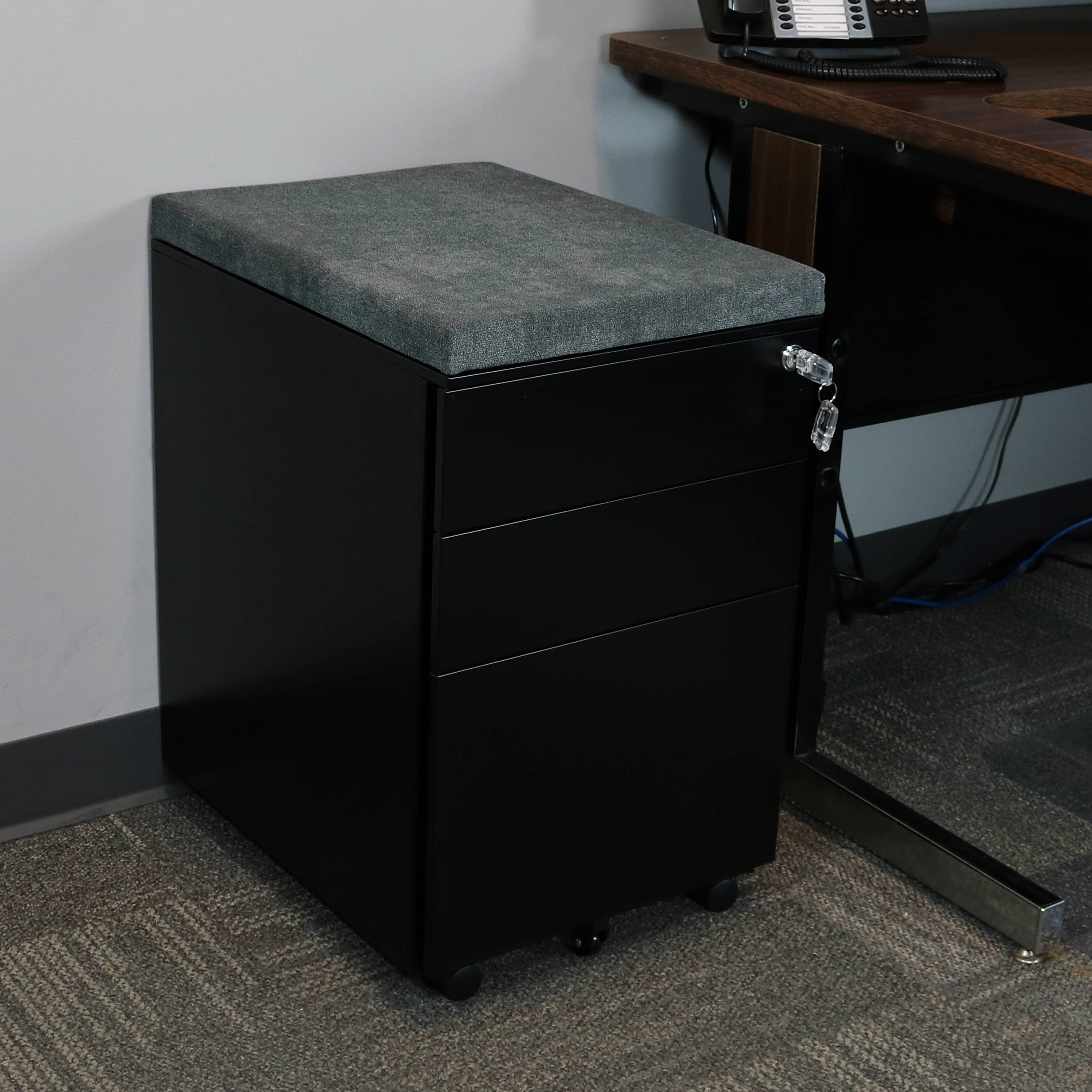 Small Filing Cabinet Casl Brands Rolling Mobile File Cabinet With Lock Cushion Seat Small Steel 3 Drawer Filing Storage System Black With Gray Cushion