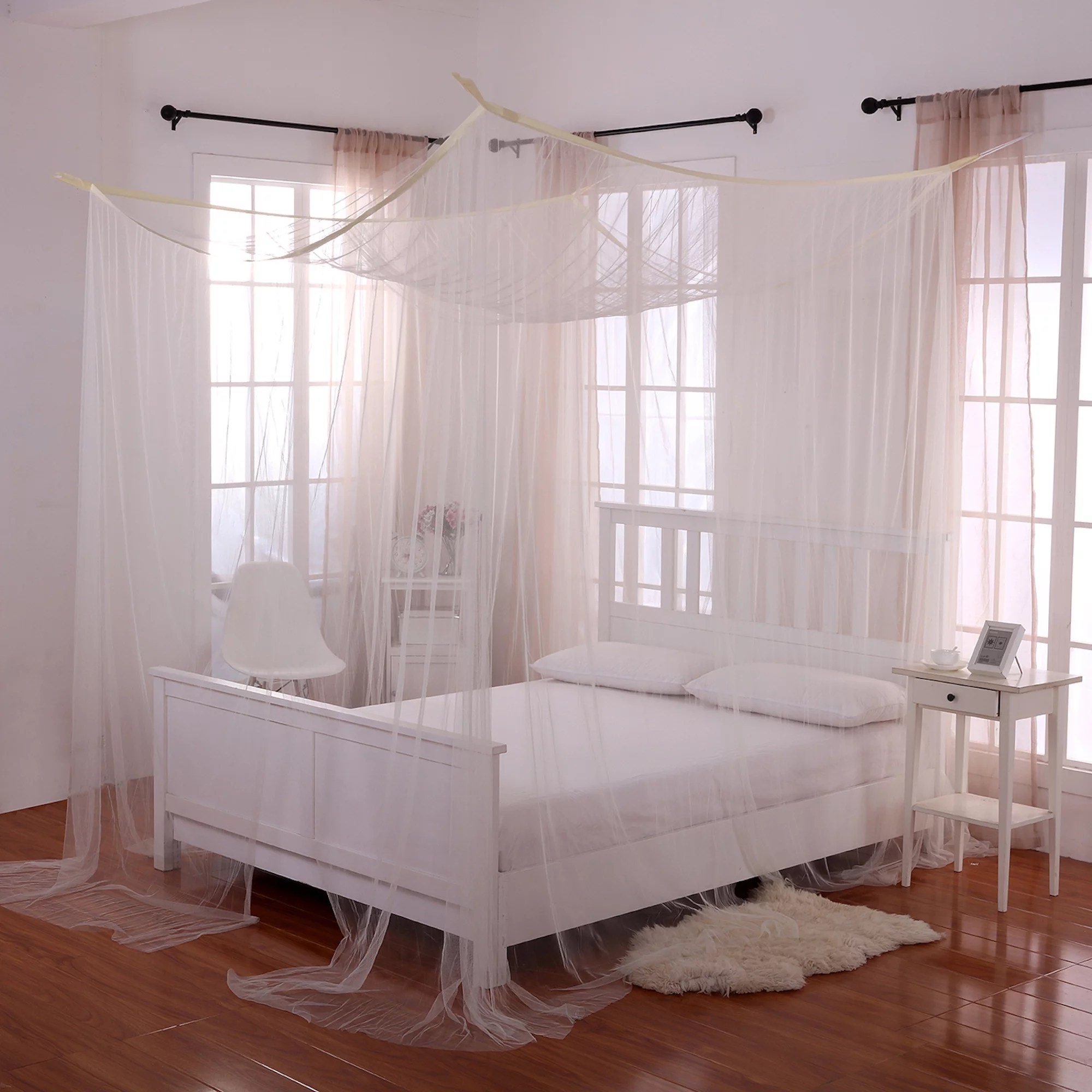 4post Bed White Palace 4 Post Bed Sheer Mosquito Net Panel Canopy
