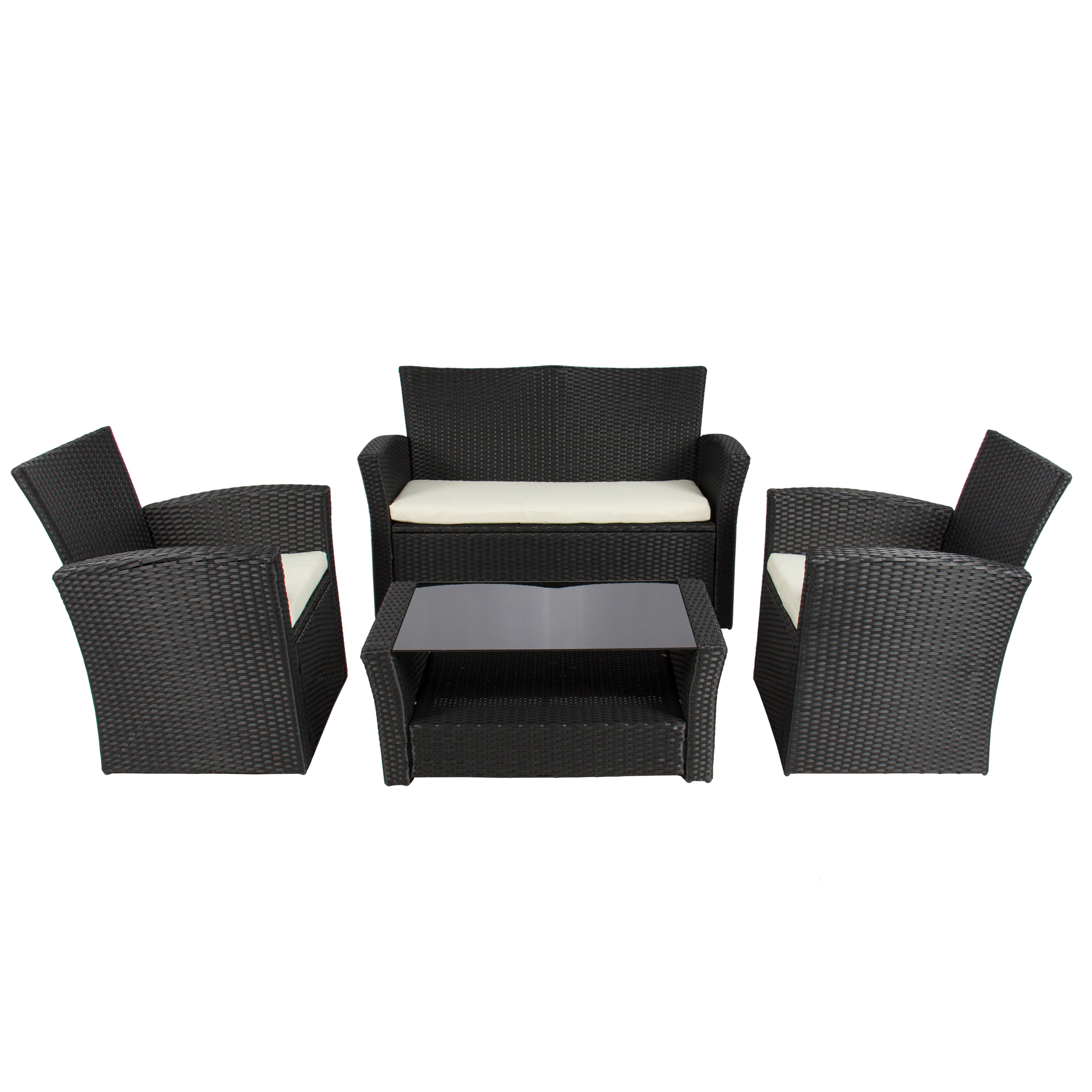 Outdoor Sofa Rattan 4pc Outdoor Patio Garden Furniture Wicker Rattan Sofa Set Black