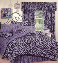 Black & Purple Zebra Bed in a Bag Set - Twin Size ...