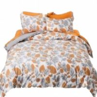 Autumn Leaf Orange & Gray Leaves 3 Pc Duvet Cover Set Full ...