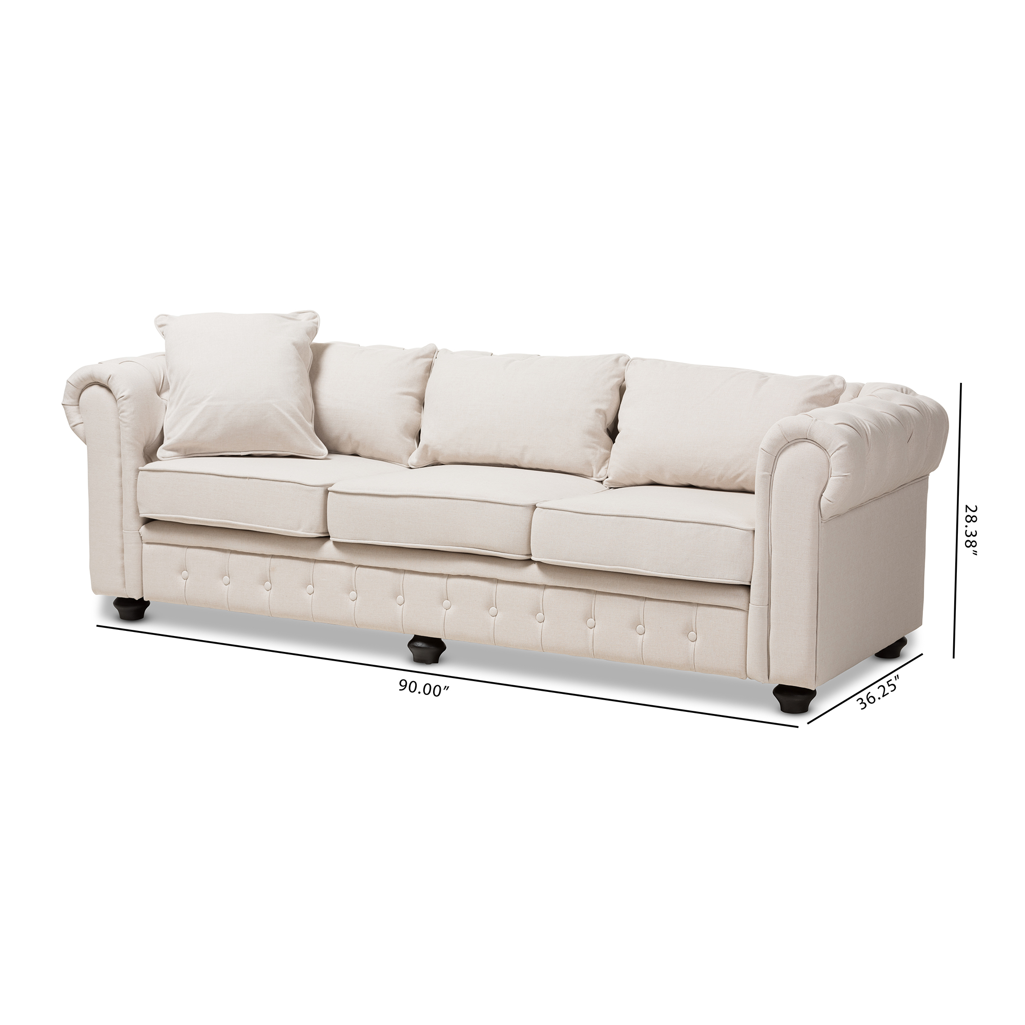 Chesterfield Sofa Baxton Studio Alaise Modern Classic Linen Tufted Scroll Arm Chesterfield Sofa Multiple Colors