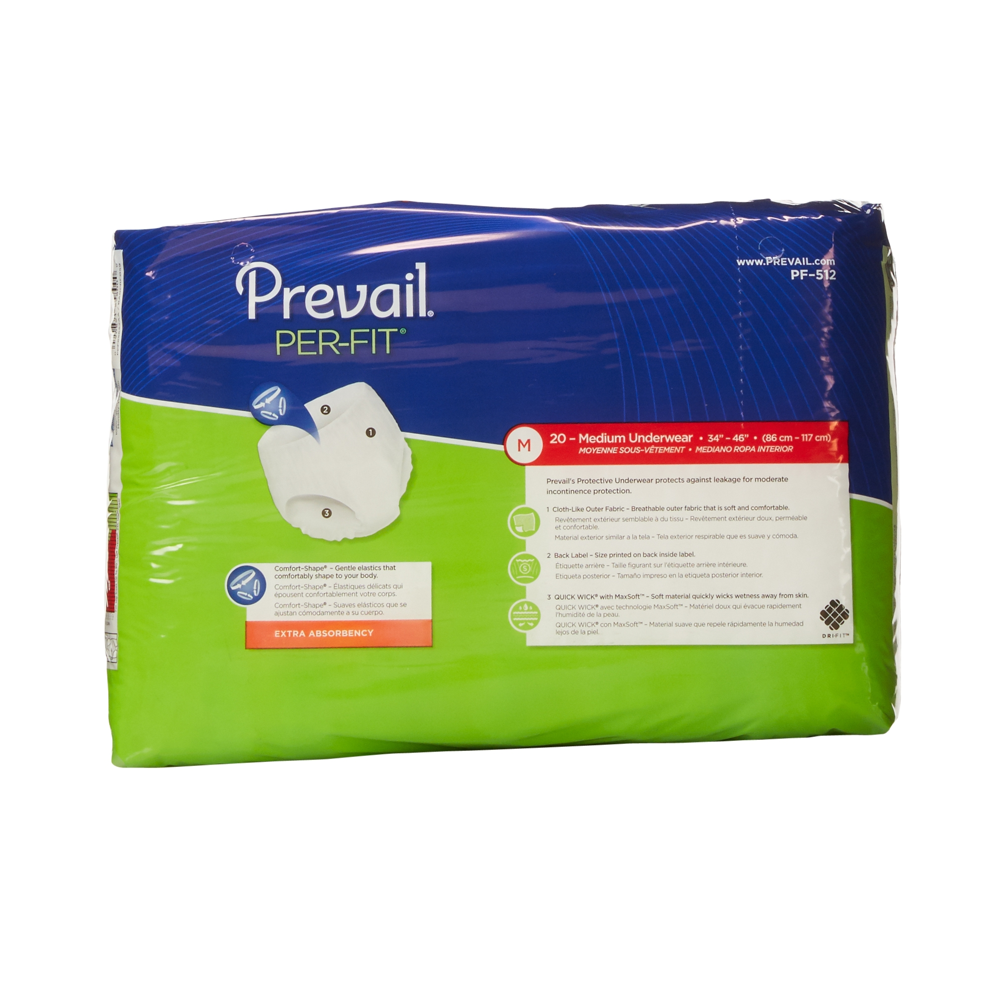Tela Para Exterior Prevail Per Fit Adult Underwear Medium Heavy Absorbency Pull On Pf 512 Case Of 80