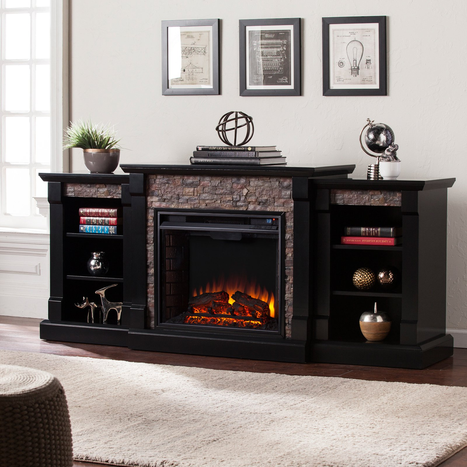 Electric Fireplaces For Sale At Walmart Southern Enterprises Gallatin Electric Fireplace With Bookcase