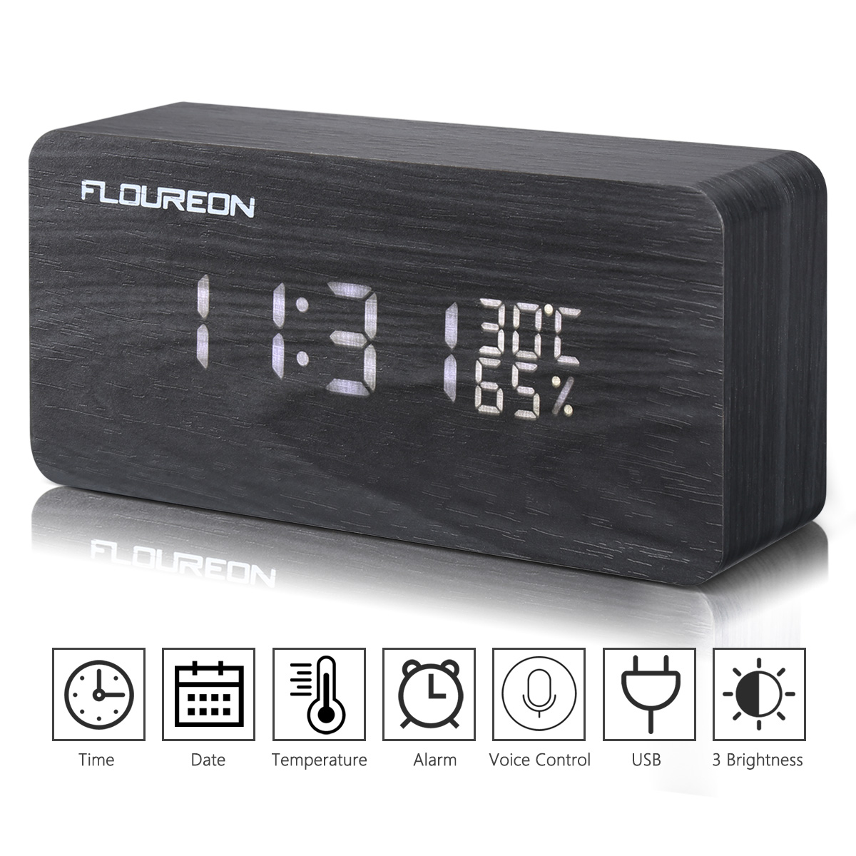 Small Led Alarm Clock Desk Alarm Clock Floureon Wooden Led Cube Digitl Desk