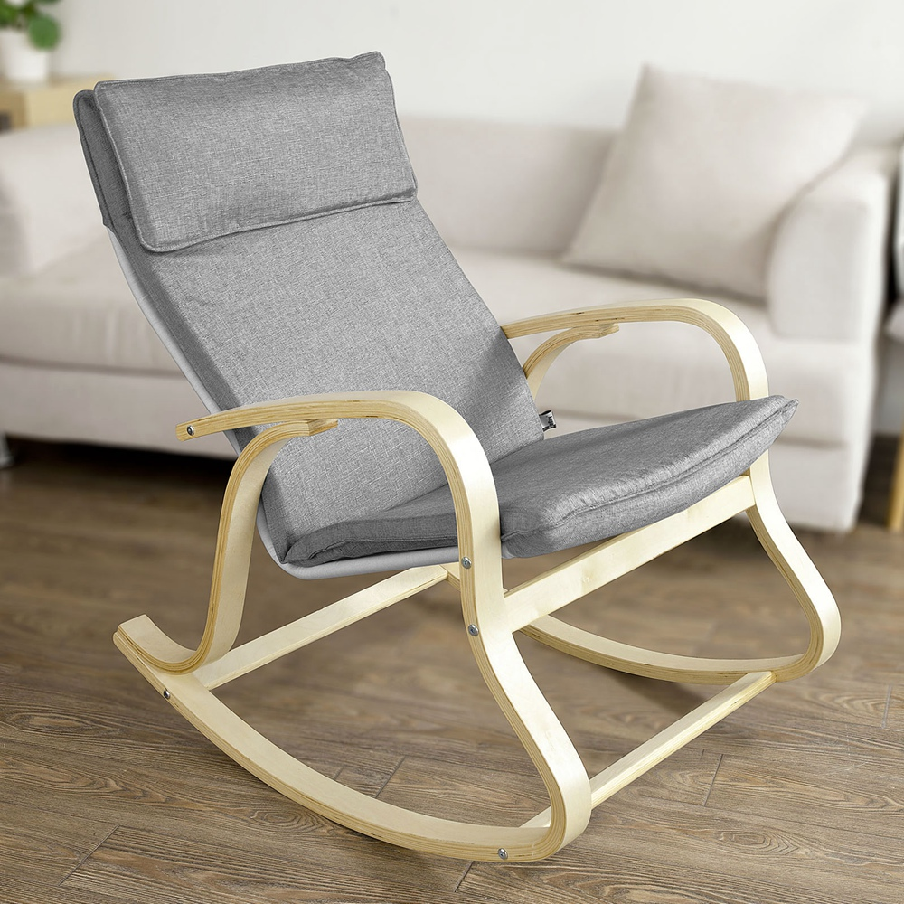 Sobuy Shop Sobuy Comfortable Relax Rocking Chair Gliders Lounge Chair With Cotton Fabric Cushion Fst15 Dg Grey