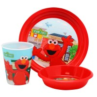 Sesame Street Elmo and Friends 3-Piece Kids Dinnerware Set ...