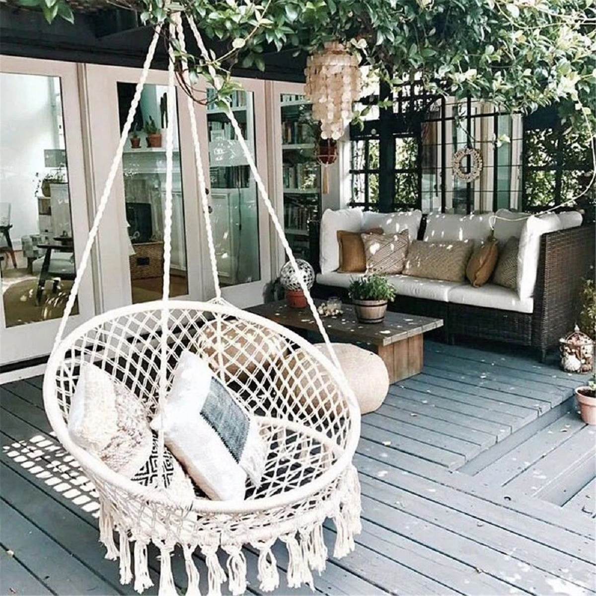Hanging Outdoor Chairs Hanging Hammock Mesh Woven Rope Macrame Wooden Bar Chair Swing Outdoor Home Garden Patio Chair Seat Install Tool Home Decor Gift