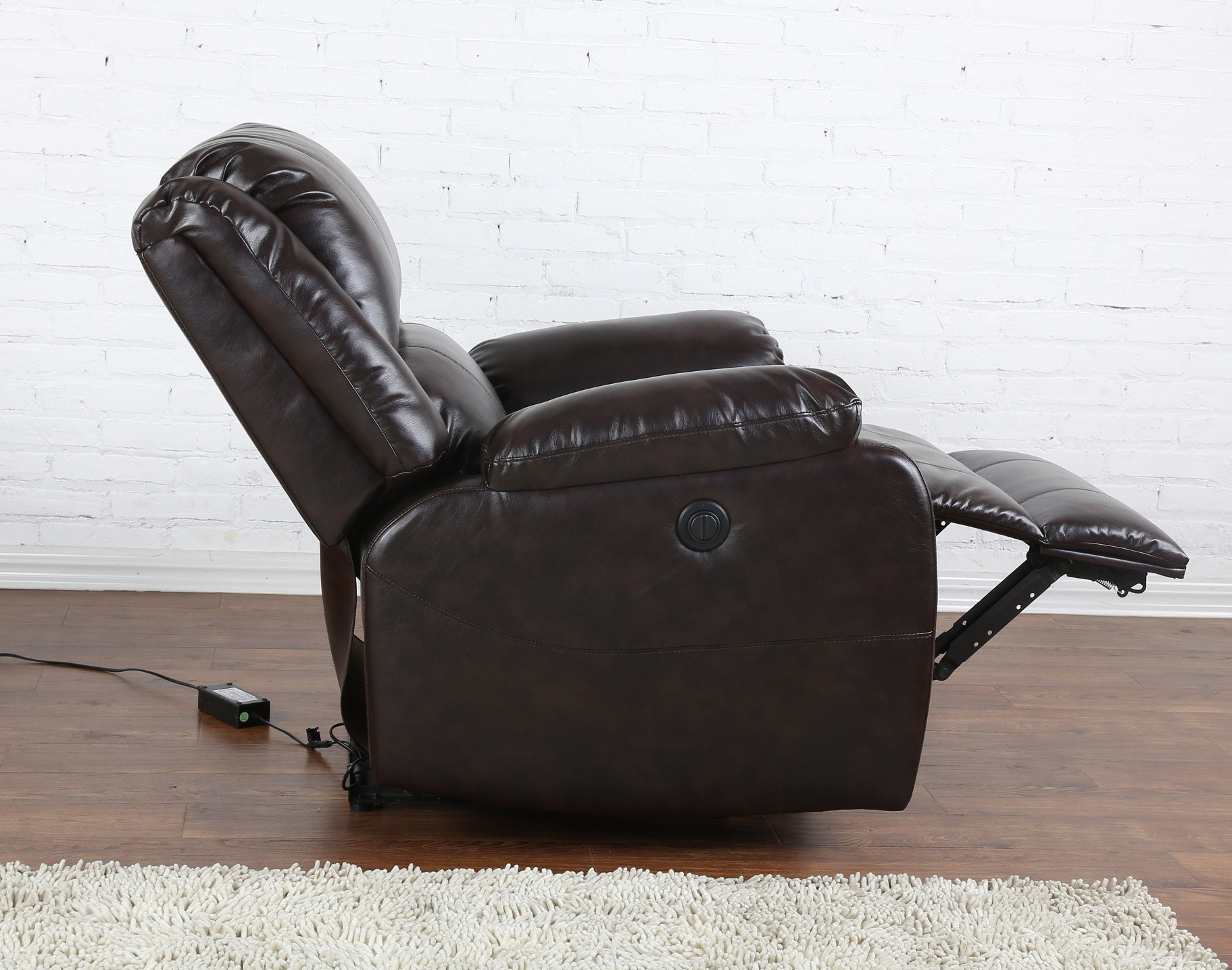 Electric Recliner Leather Chairs Classic Brown Bonded Leather Power Electric Recliner Living Room Chair