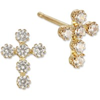 10kt Yellow Gold Cross Stud Earrings - Walmart.com