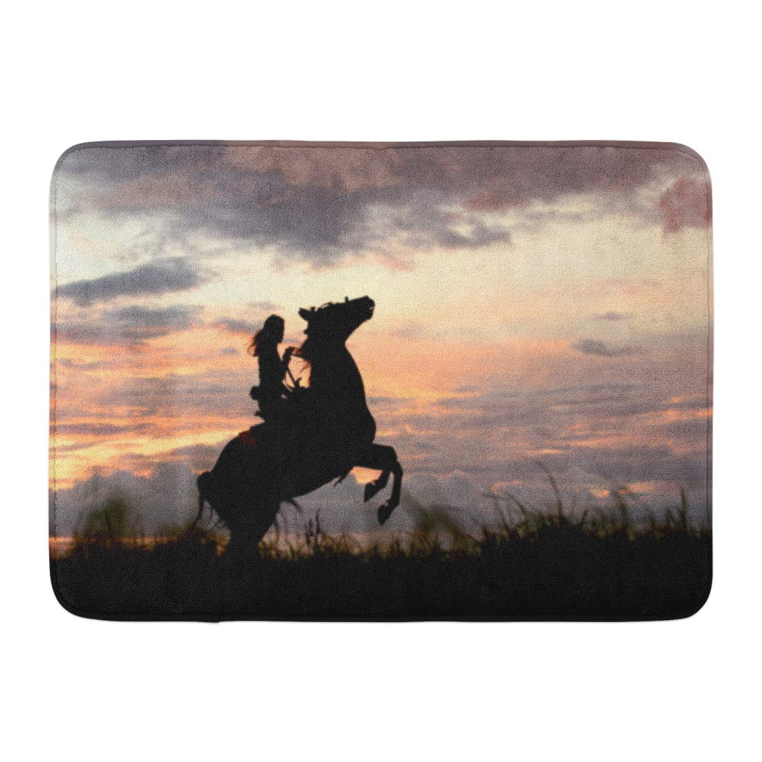 Freedom Furniture Rugs Godpok Way To The Top Leader And Freedom Happy Girl Riding Horse Arabian Stallion Stands On Hind Legs Rearing Up Rug Doormat Bath Mat 23 6x15 7 Inch