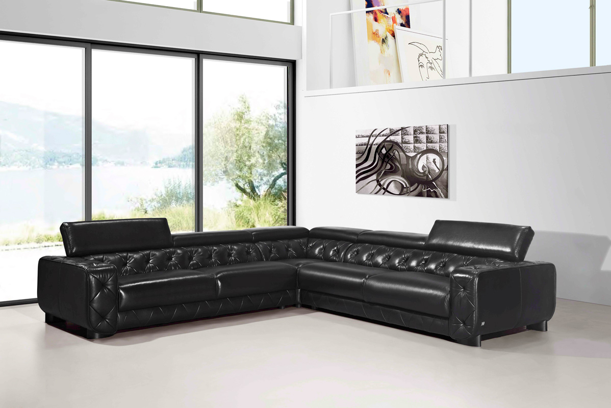 Divani Casa Lyon Modern Black Italian Leather Sectional Sofa Color Black Finish Black Walmart Com Walmart Com