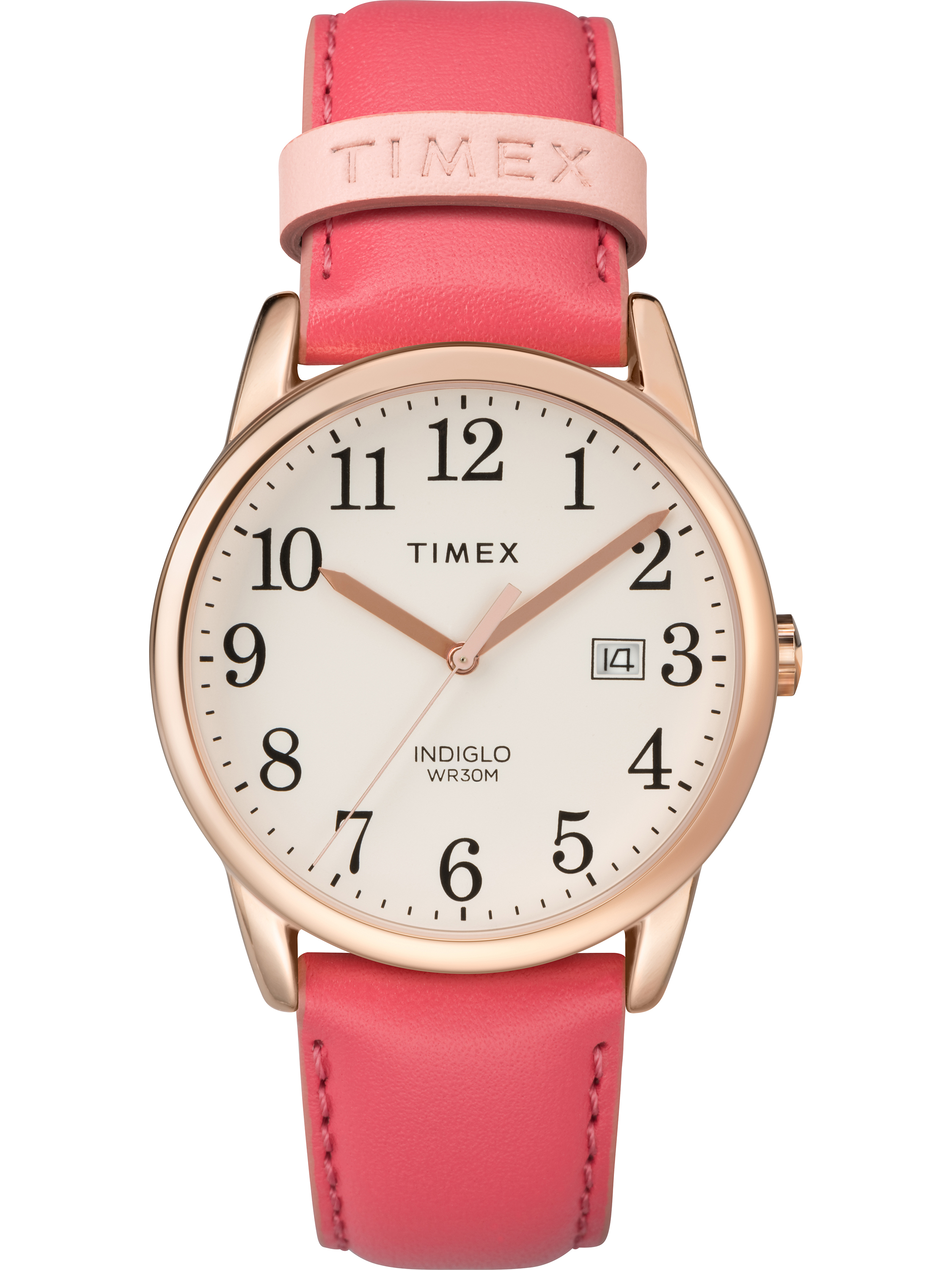 Leather Strap Rose Gold Watch Women S Easy Reader Pink Rose Gold Tone Watch Leather Strap