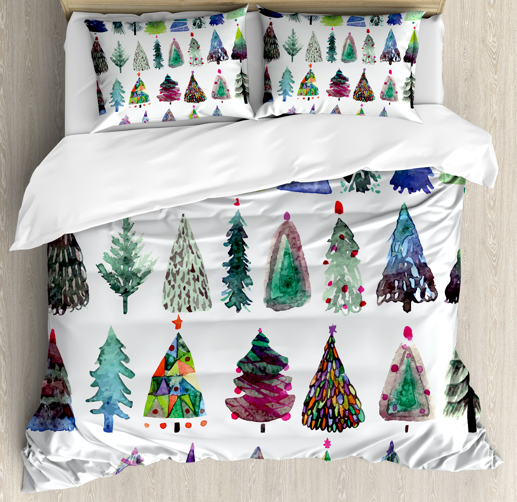 King Duvet Christmas King Size Duvet Cover Set Big Collection Of Watercolor Christmas Fir Trees Artistic Abstract Silhouettes Decorative 3 Piece Bedding Set